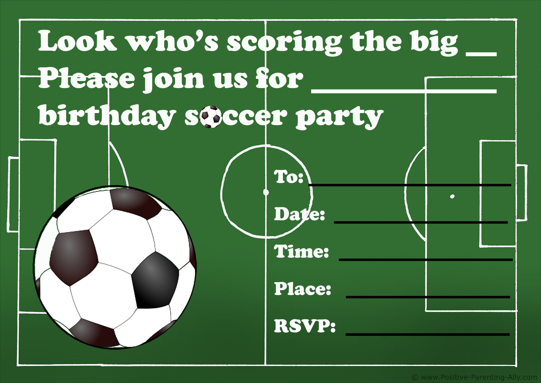 Free Printable Birthday Party Invitations For Kids: High Resolution - Free Printable Soccer Birthday Invitations