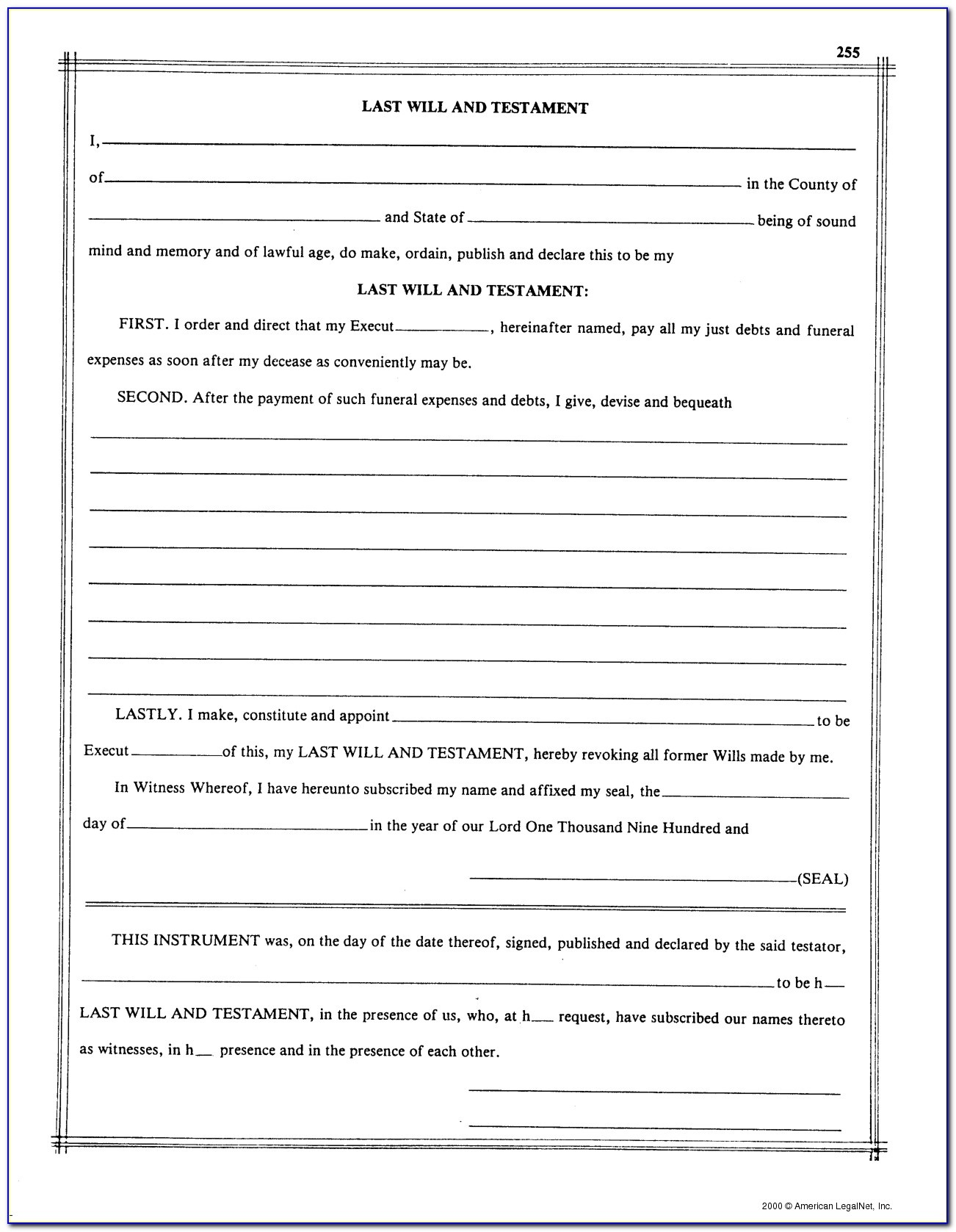 Free Printable Blank Last Will And Testament Forms - Form : Resume - Free Printable Last Will And Testament Blank Forms