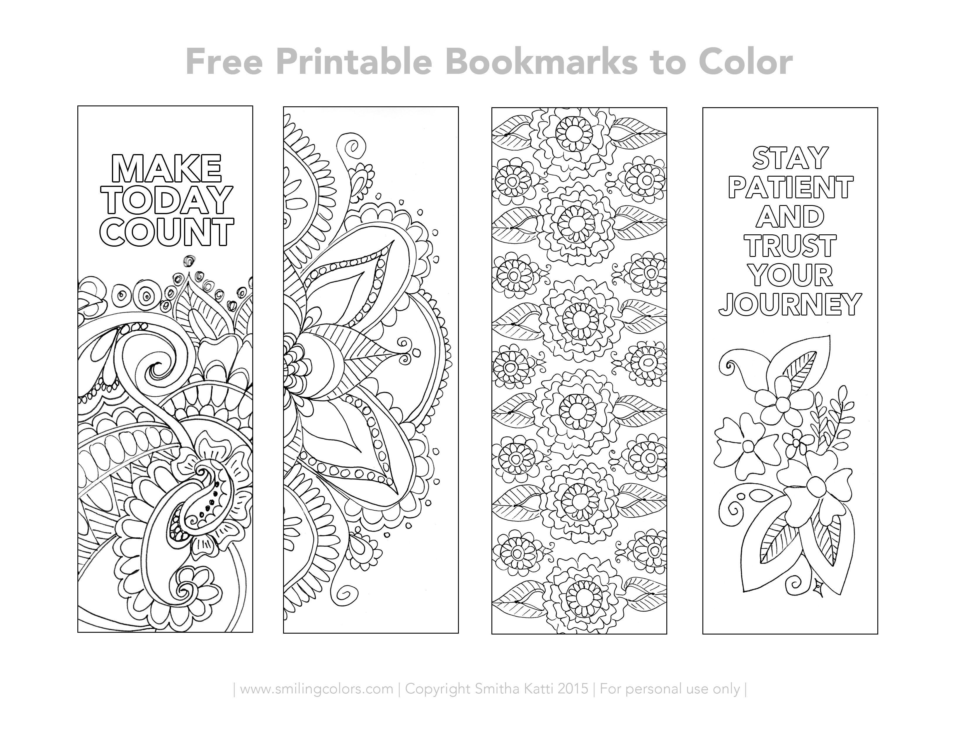 Free Printable Bookmarks To Color | Inspirational | Free Printable - Free Printable Spring Bookmarks