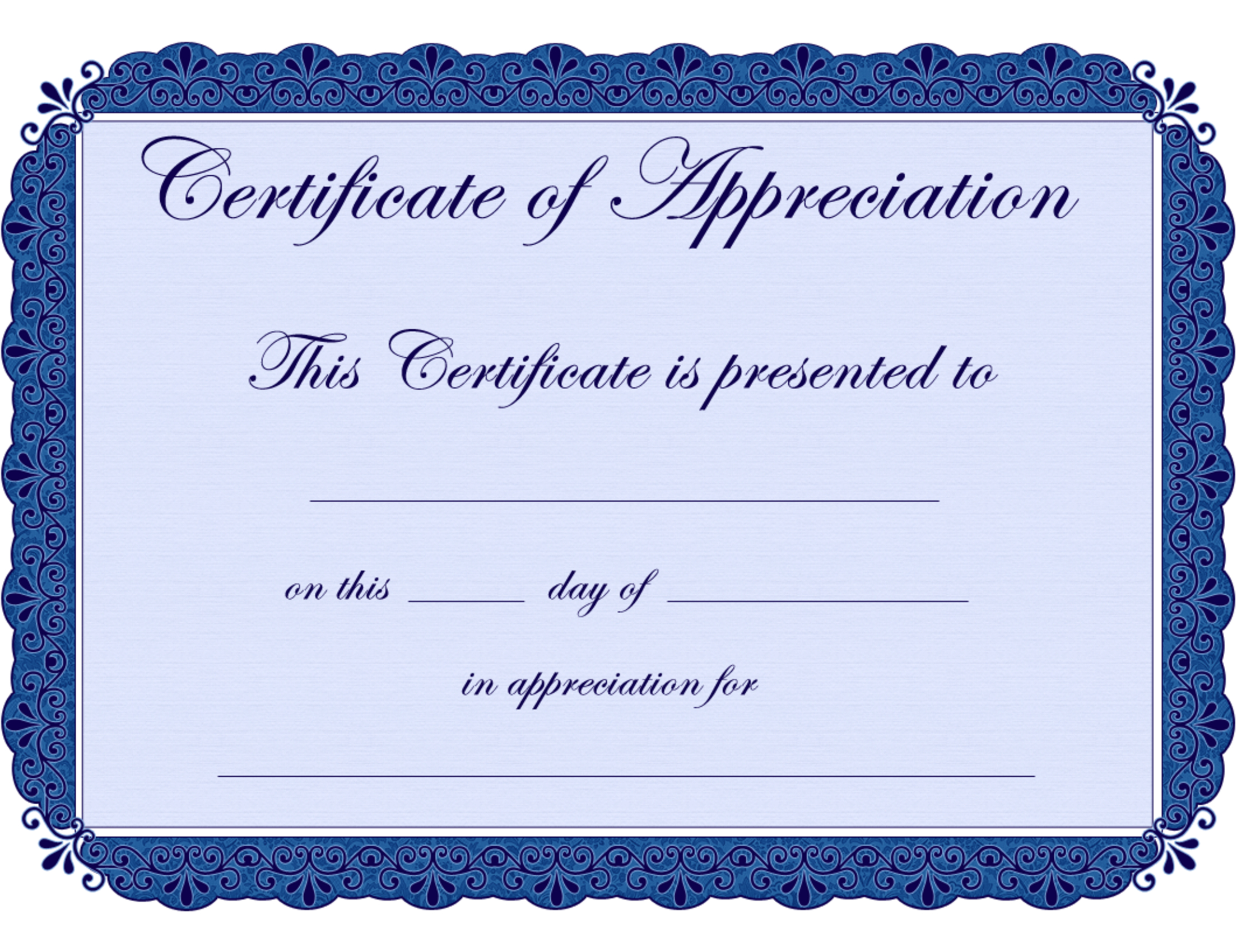 Free Printable Certificates Certificate Of Appreciation Certificate - Free Printable Blank Certificate Templates