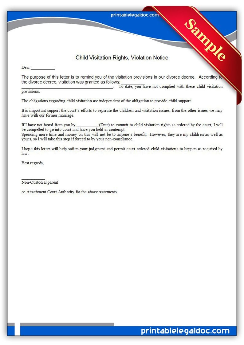 Free Printable Child Visitation Rights, Viiolation Notice | Sample - Free Printable Parenting Plan