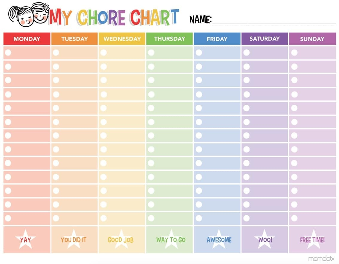 Free Printable Chore Chart - - Free Printable Chore Charts
