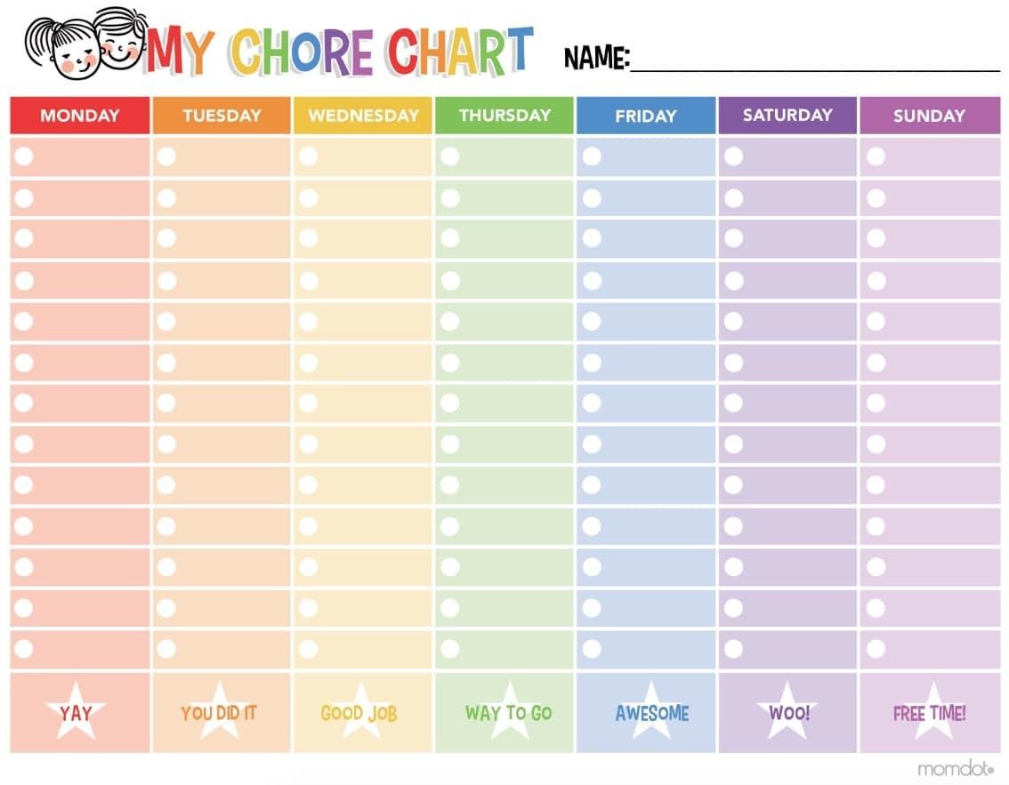 Free Printable Chore Chart - - Free Printable To Do Charts