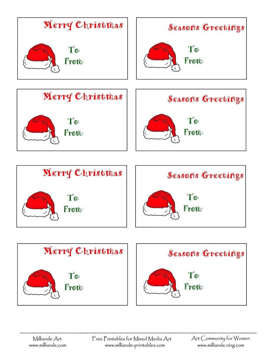Free Printable Christmas Labels Santa Hat Christmas Gift Tags To - Free Printable Christmas Labels