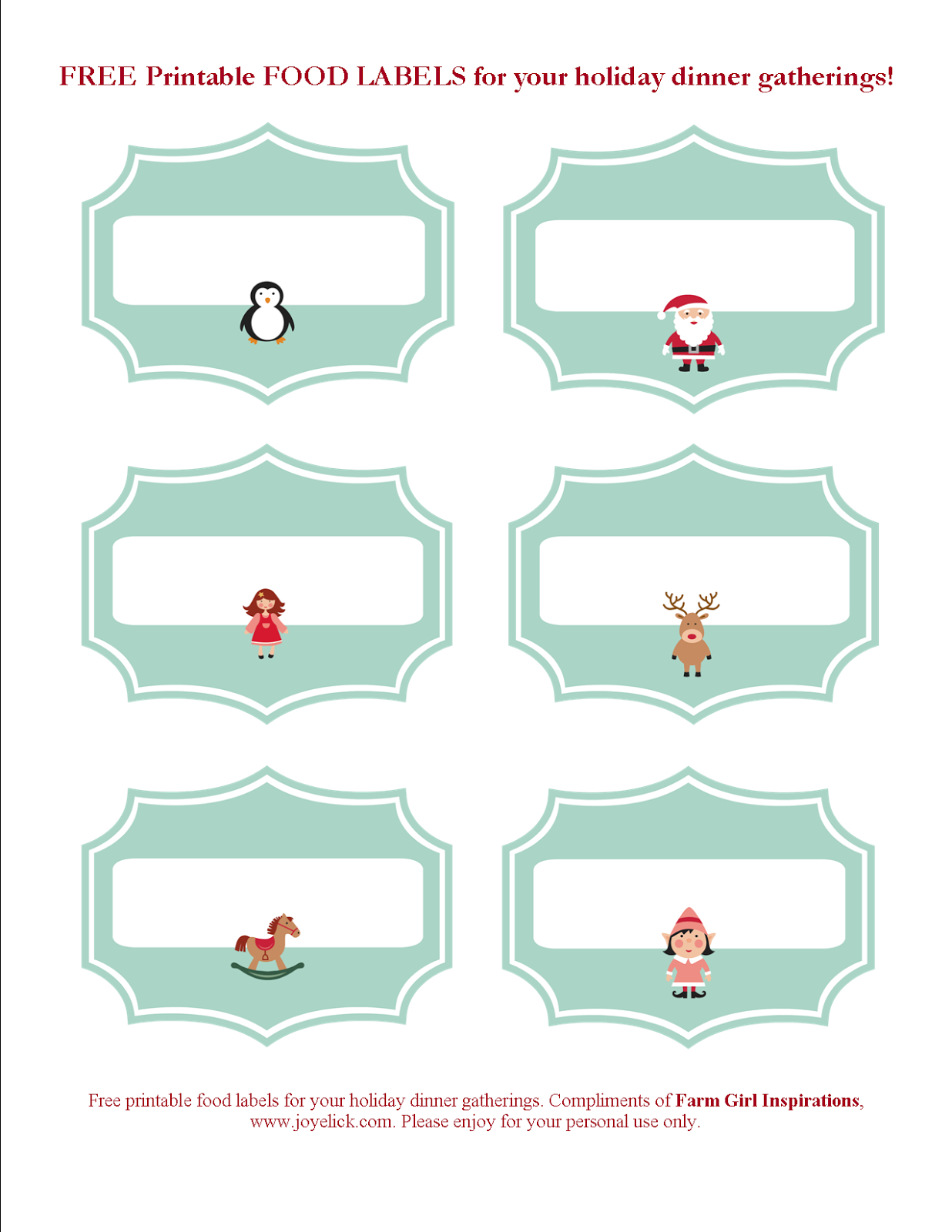 Free Printable Christmas Planner Set: Stay Organized This Holiday - Free Printable Christmas Food Labels