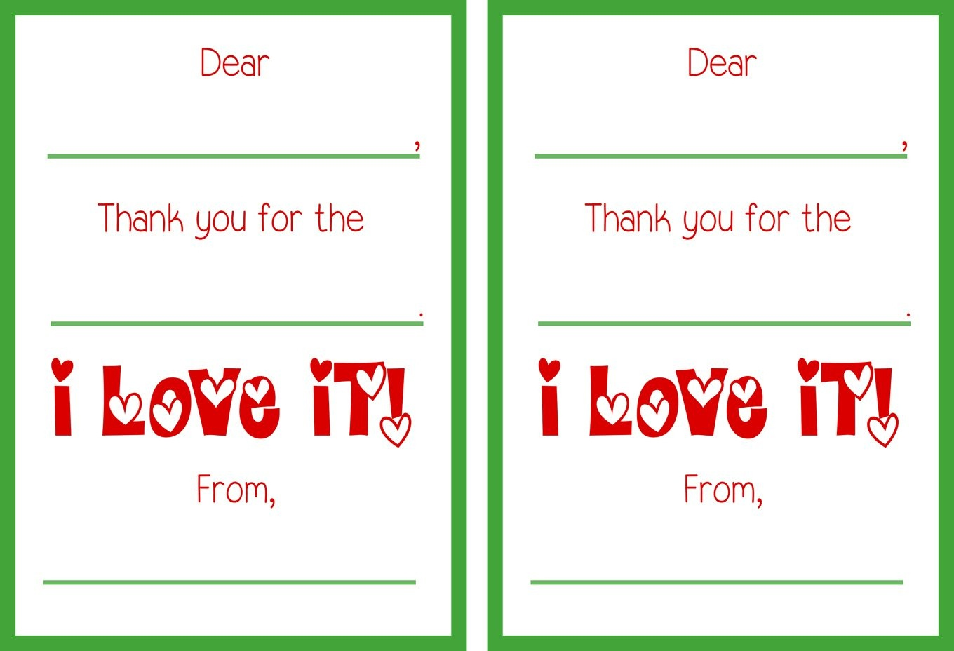Free Printable Christmas Thank You Notes – Festival Collections - Free Christmas Thank You Notes Printable