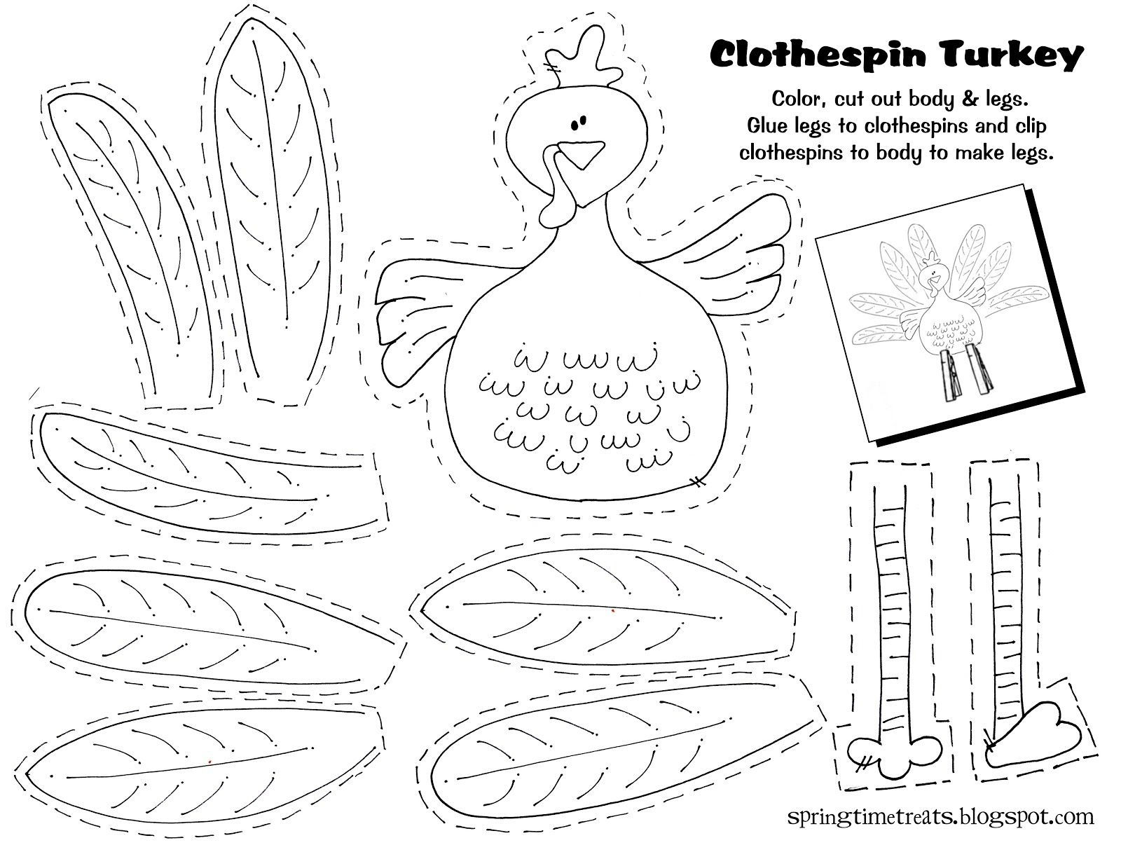 Free Printable - Clothespin Turkey. Easy Craft Idea For The Kids - Free Printable Turkey Craft