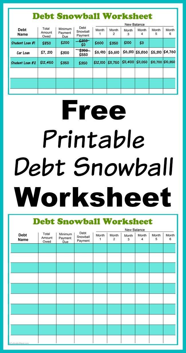 Free Printable Debt Snowball Worksheet | Living Frugally - Money - Free Printable Debt Payoff Worksheet