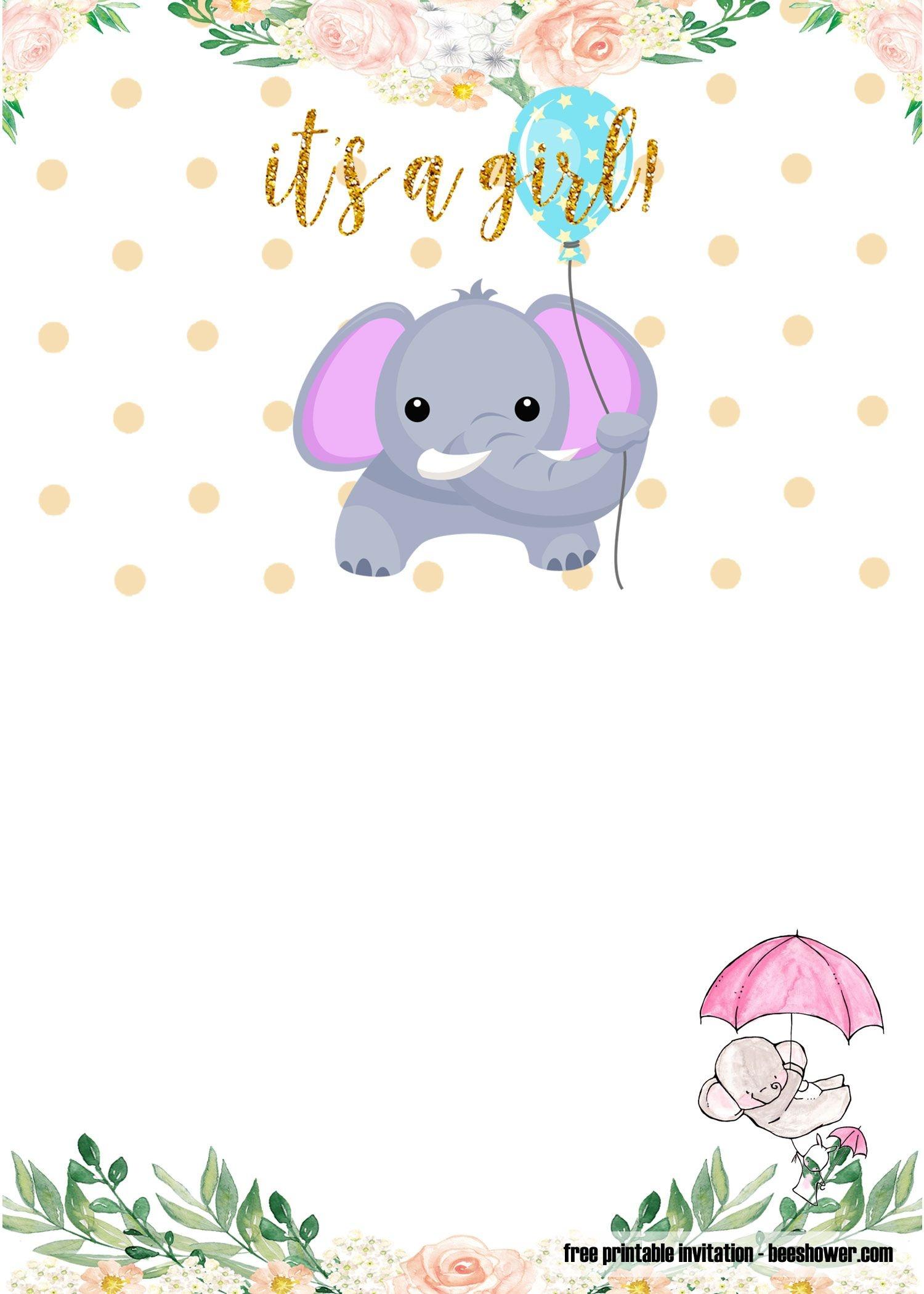 Free Printable Elephant Baby Shower Invitations   Stuff   Baby - Free Printable Elephant Baby Shower Invitations