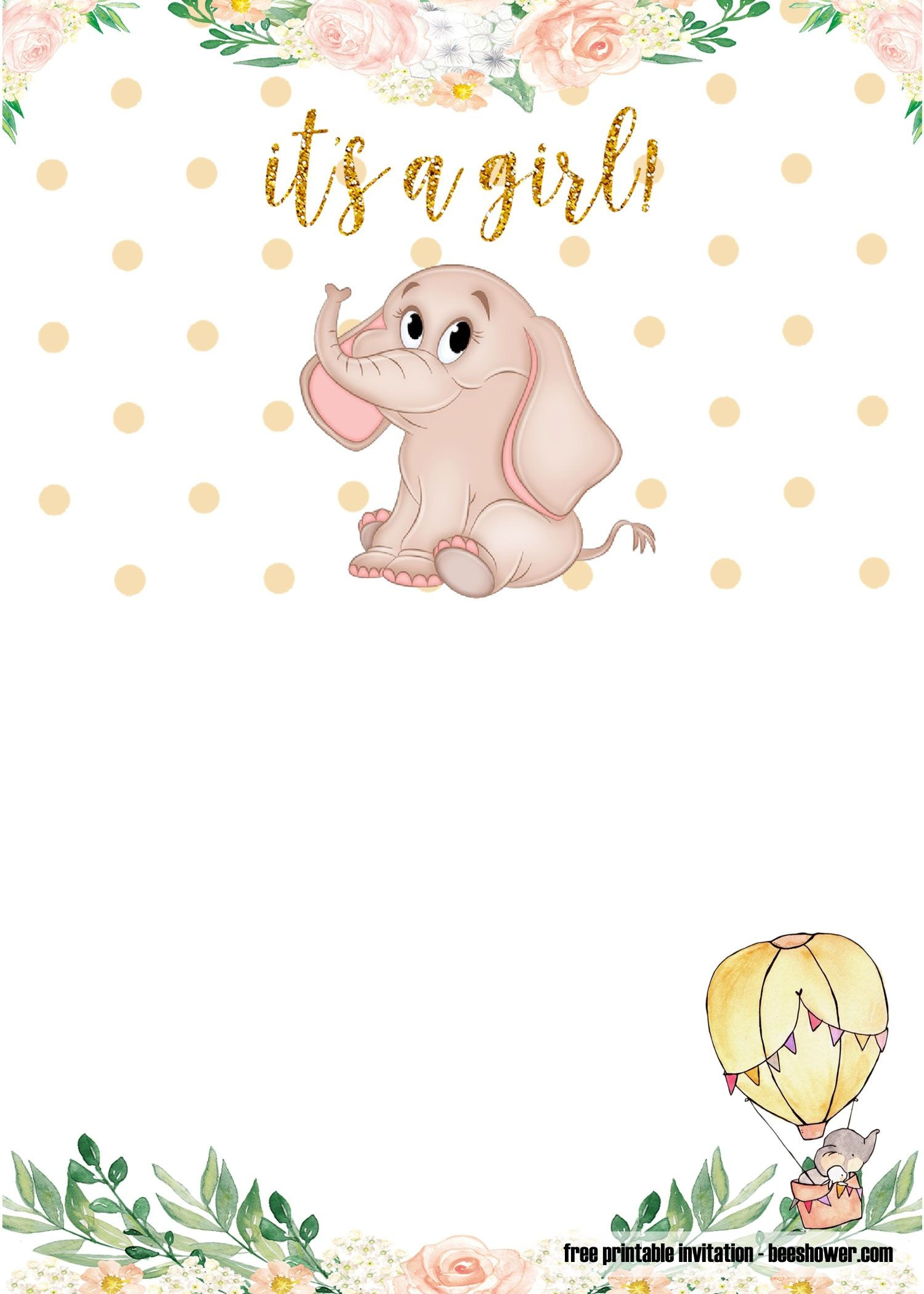 Free Printable Elephant Baby Shower Invitations | Stuff | Baby - Free Printable Elephant Baby Shower
