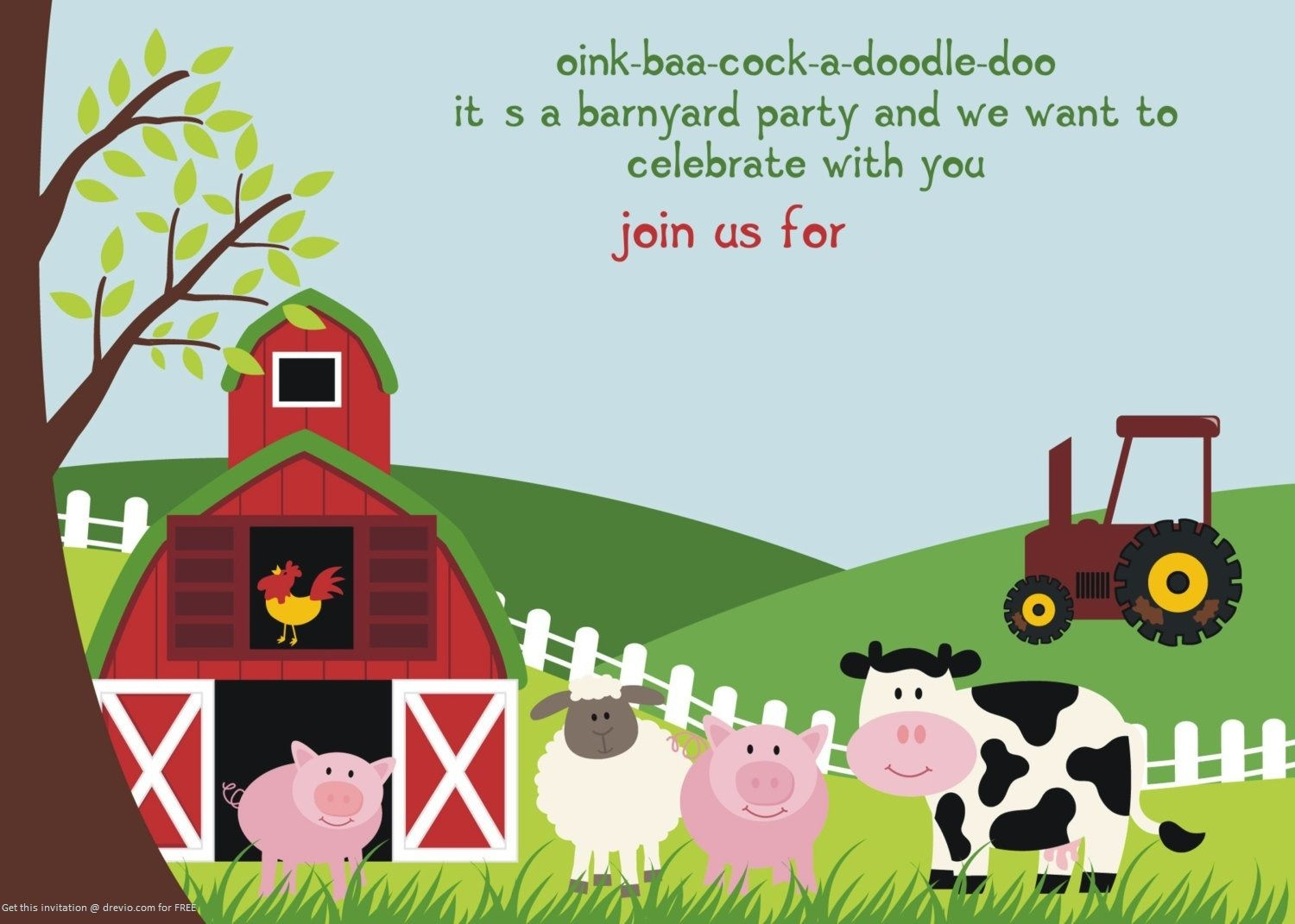 Free Printable Farm Animals Birthday Invitation Template | Free - Free Printable Farm Birthday Invitations