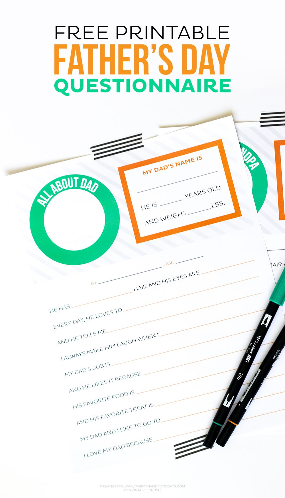 Free Printable Father's Day Questionnaire - Thirty Handmade Days - Free Printable Dad Questionnaire