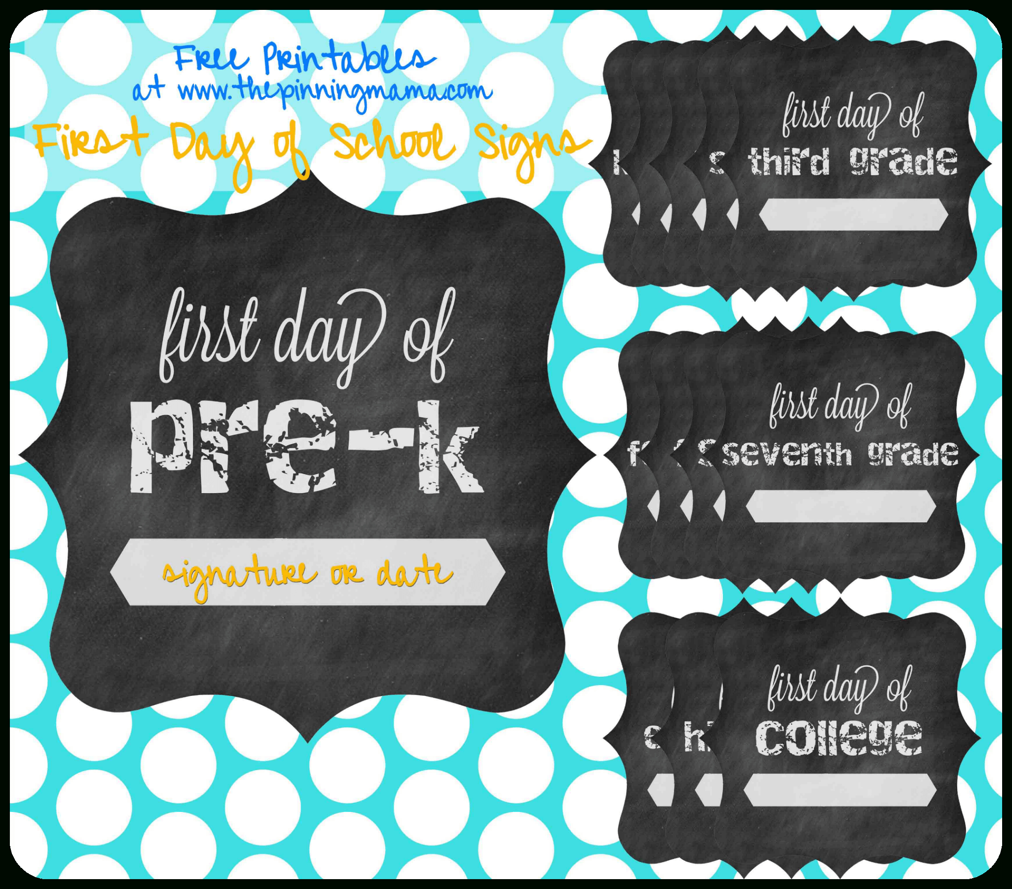 Free Printable} First Day Of School Chalkboard Sign • The Pinning Mama - Free Printable First Day Of School Signs