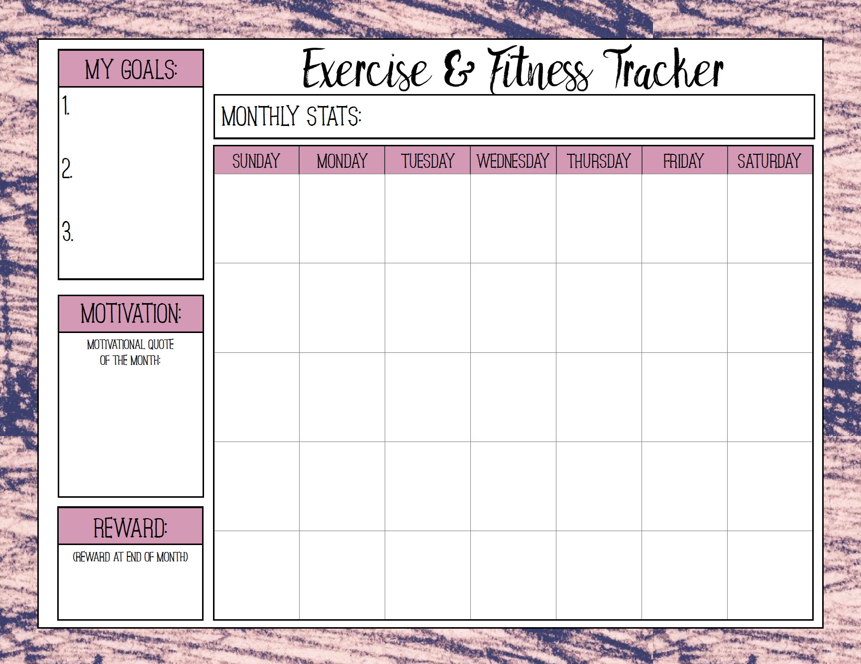 Free Printable Fitness Trackers: 3 Different Monthly Designs - Free Printable Fitness Worksheets