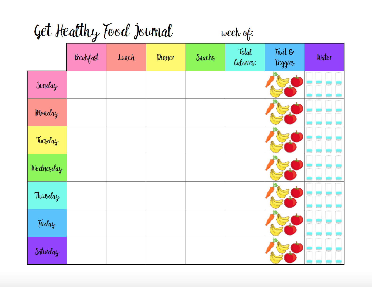 Free Printable Food Journal: 6 Different Designs - Free Printable Calorie Counter Sheet
