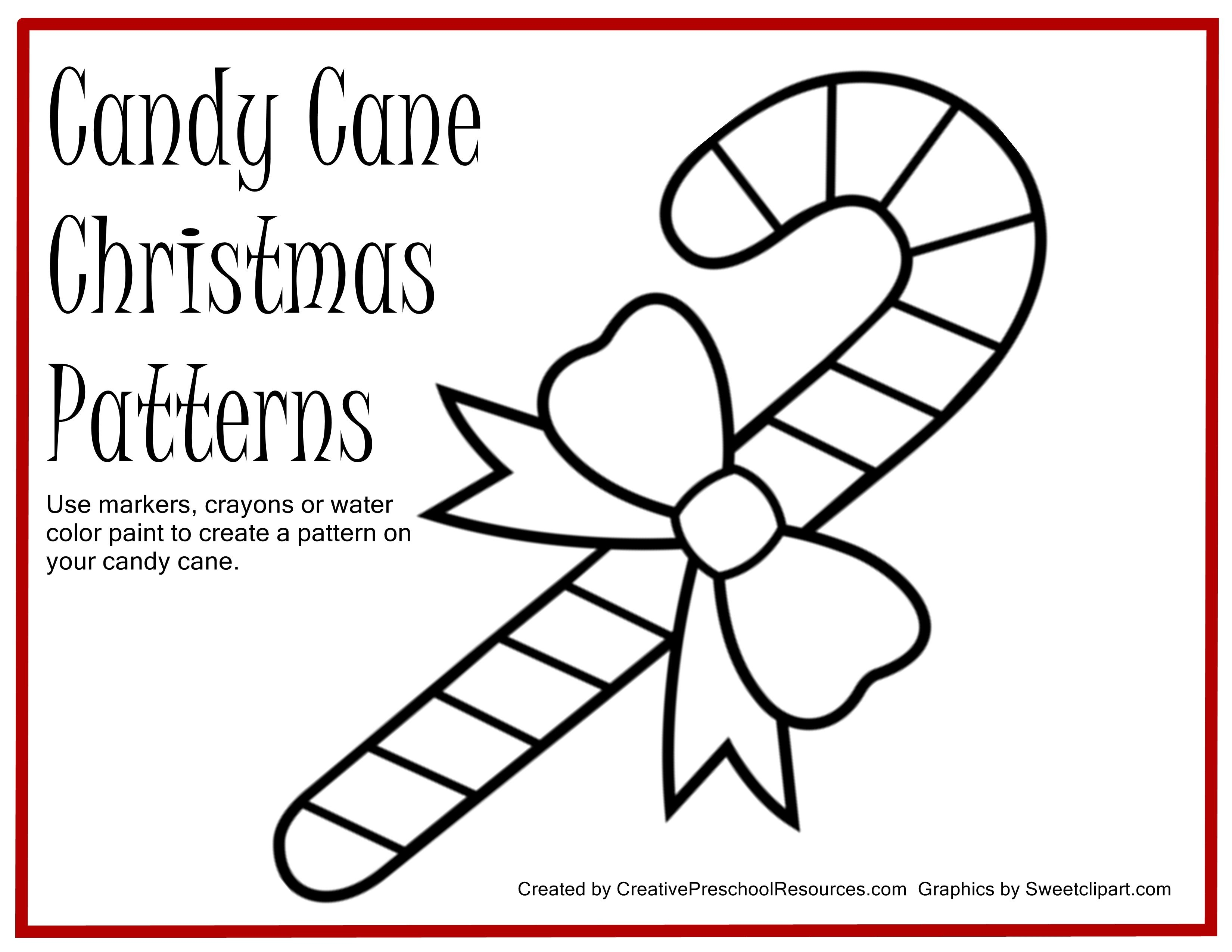 Free Printable For Painting Candy Cane Patterns | Preschool Ideas - Free Candy Cane Template Printable