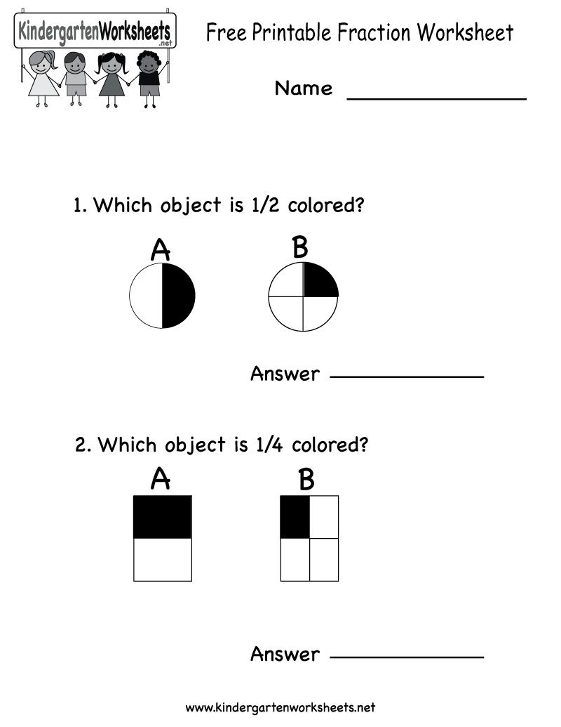 Free Printable Fraction Worksheet - Free Kindergarten Math Worksheet - Free Printable Fraction Worksheets
