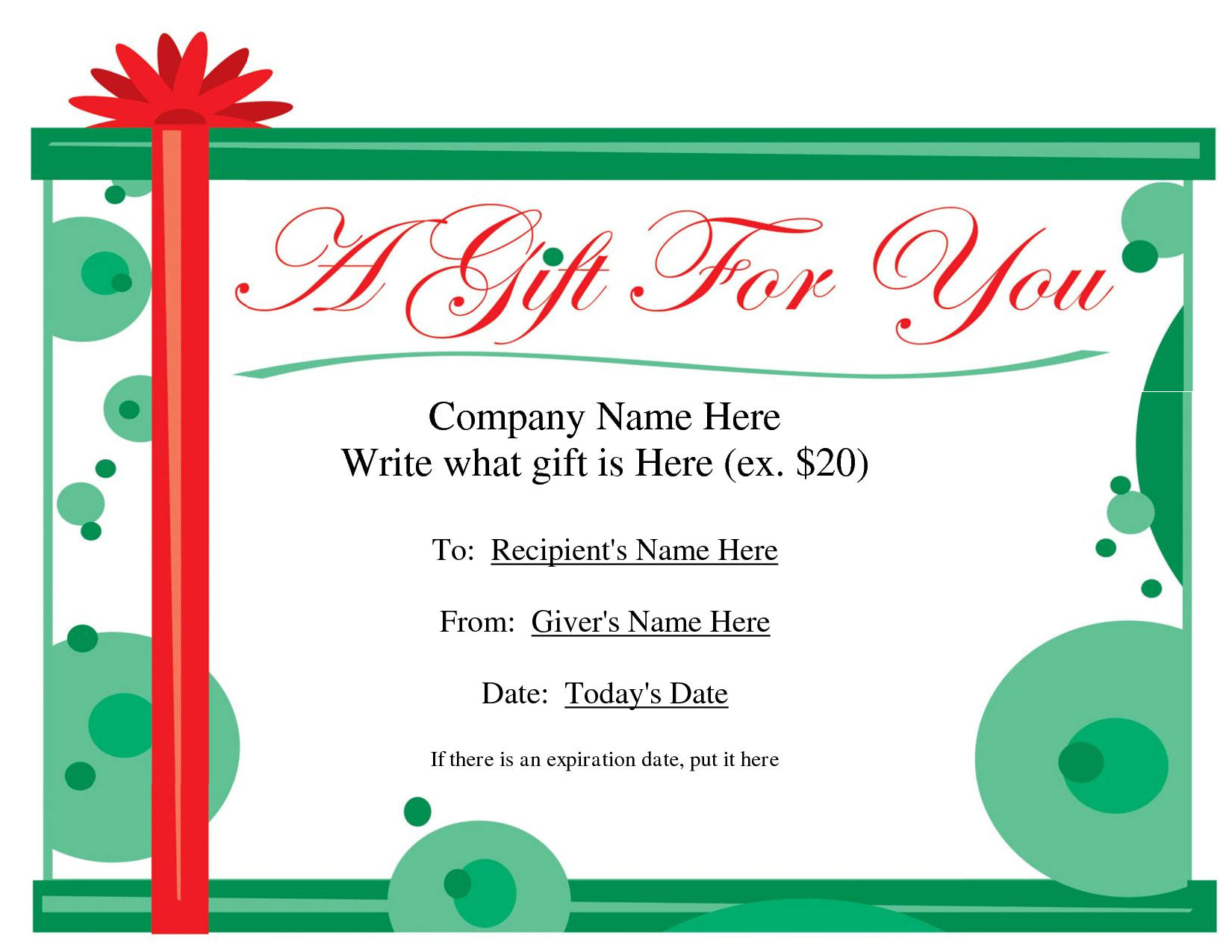 Free Printable Gift Certificate Template | Free Christmas Gift - Free Printable Gift Cards