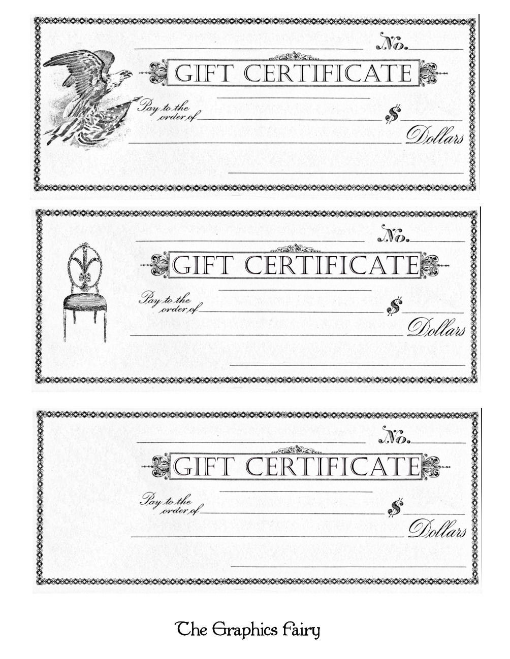 Free Printable - Gift Certificates - The Graphics Fairy - Free Printable Gift Cards