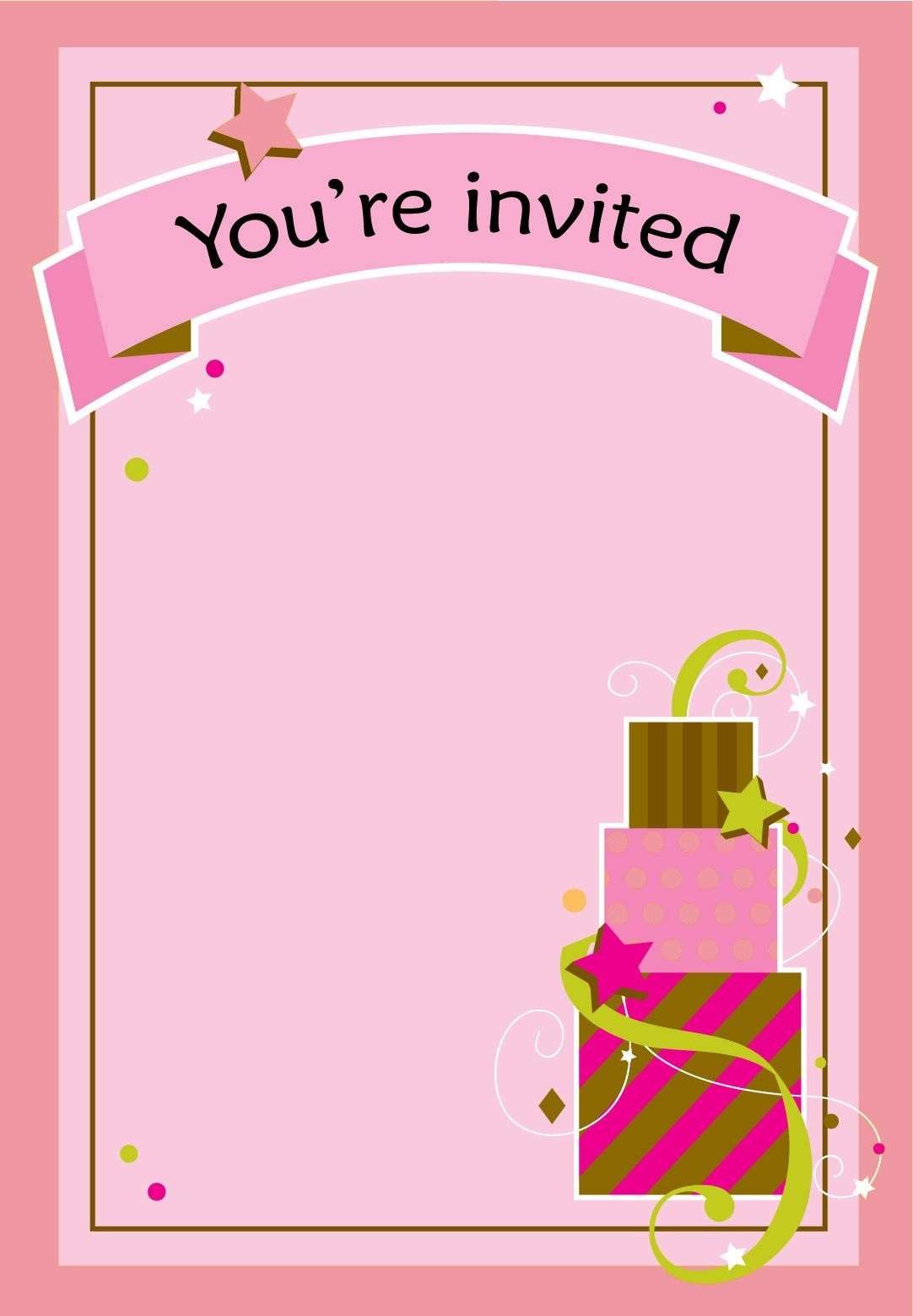 Free Printable Girl Fun Birthday Invitation | Cake & Cupcakes | Free - Free Printable Girl Birthday Invitations