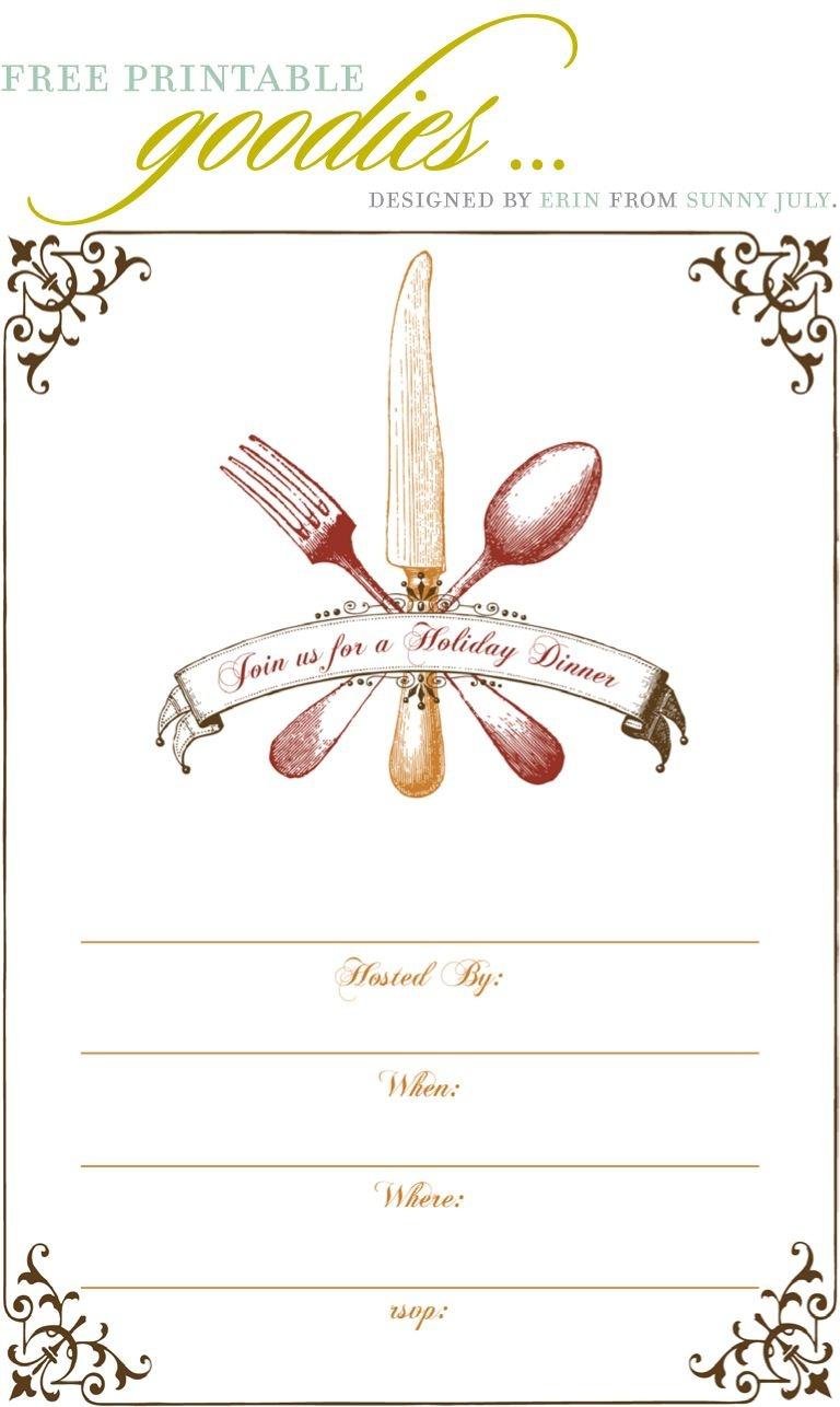 Free Printable Goodies - Sunny July | Holiday Thanksgiving | Dinner - Christmas Menu Printable Template Free