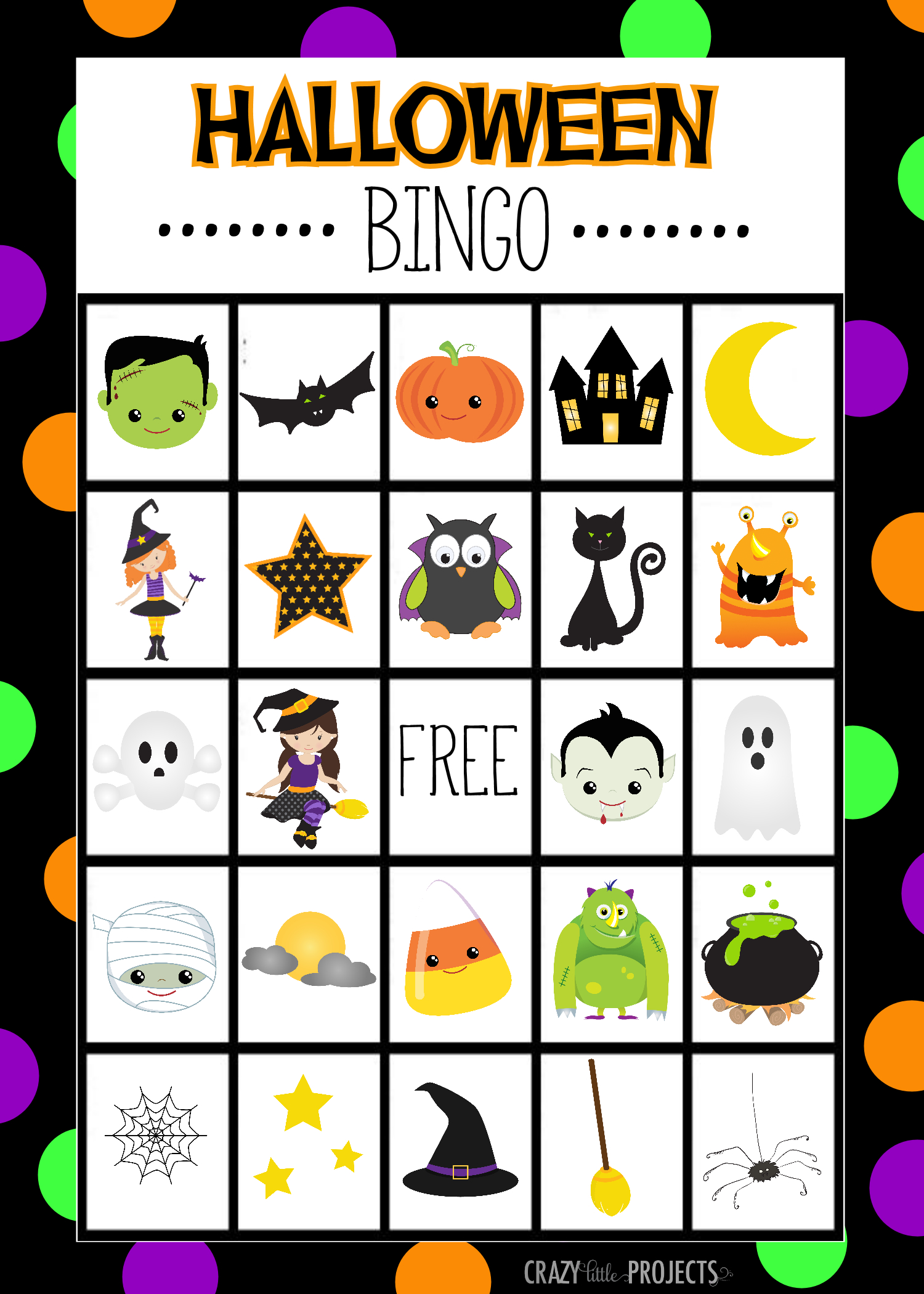 Free Printable Halloween Bingo Cardscrazy Little Projects - Free Printable Halloween Bingo