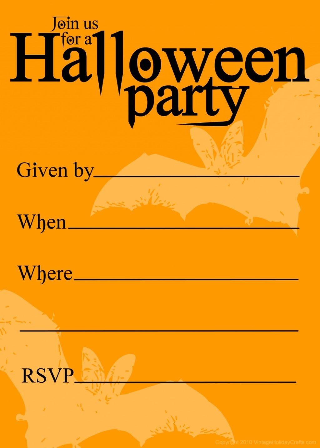 Free Printable Halloween Birthday Invitations Templates | Halloween - Halloween Party Invitation Templates Free Printable