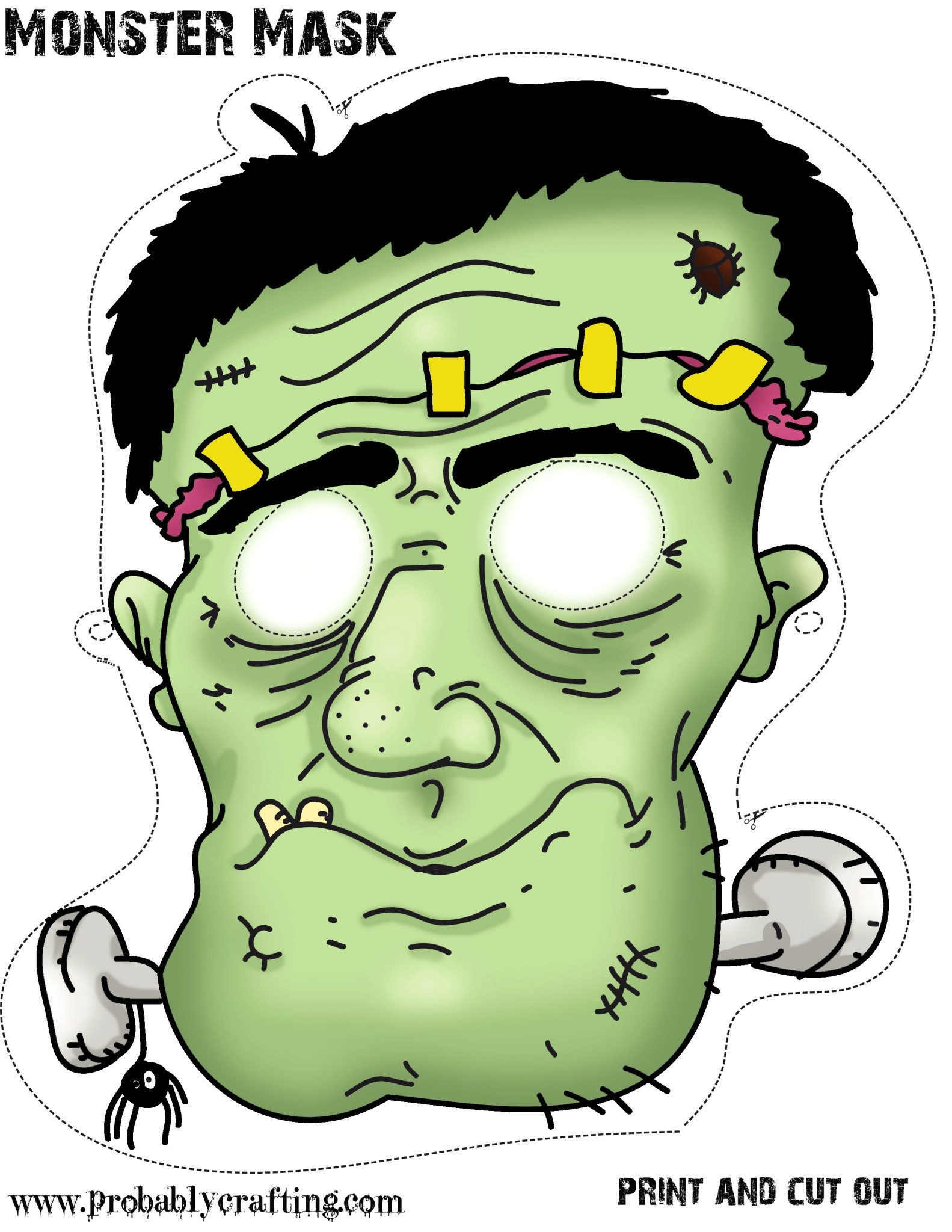 Free Printable Halloween Monster Mask ⋆ Miniature Masterminds - Free Printable Halloween Face Masks