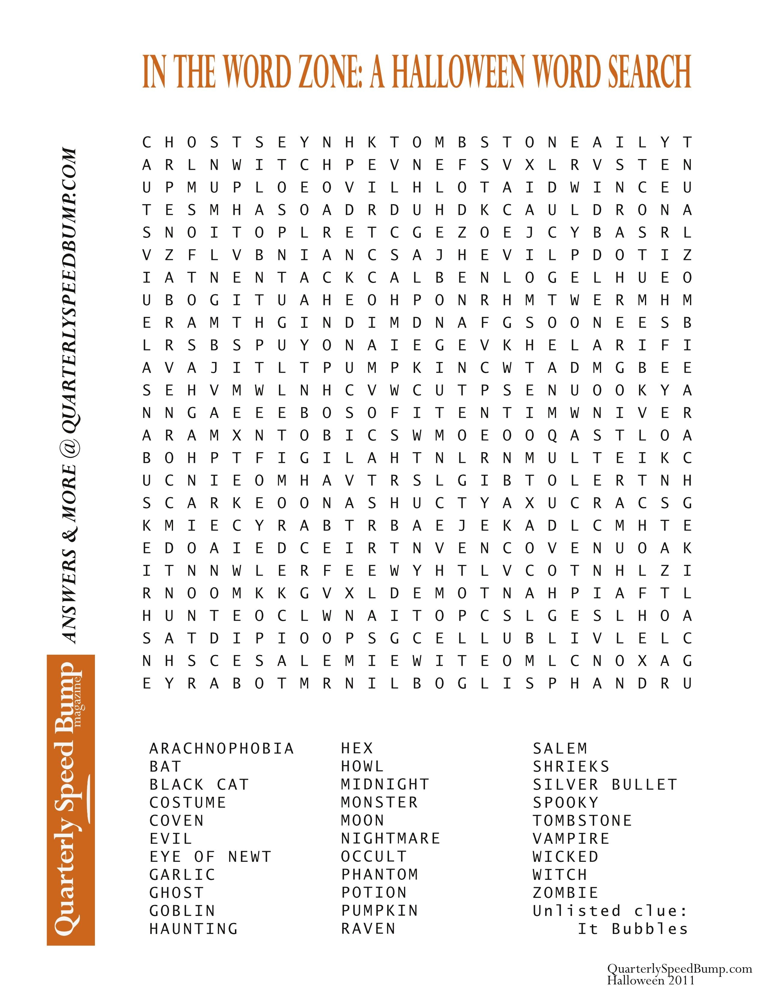Free Printable Halloween Word Search Puzzles | Halloween Puzzle For - Free Printable Word Search Puzzles