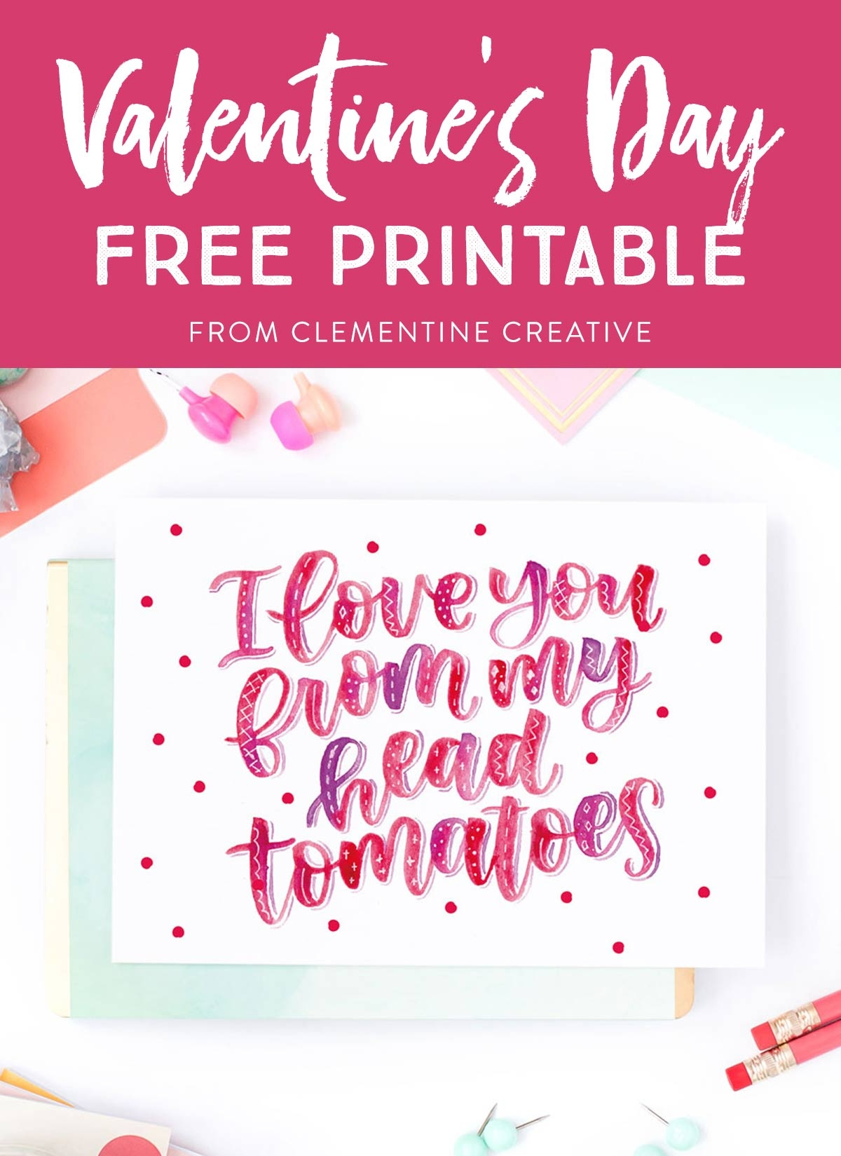 Free Printable Hand Lettered Valentine's Day Card With Punny Message - Free Printable Valentines Day Cards