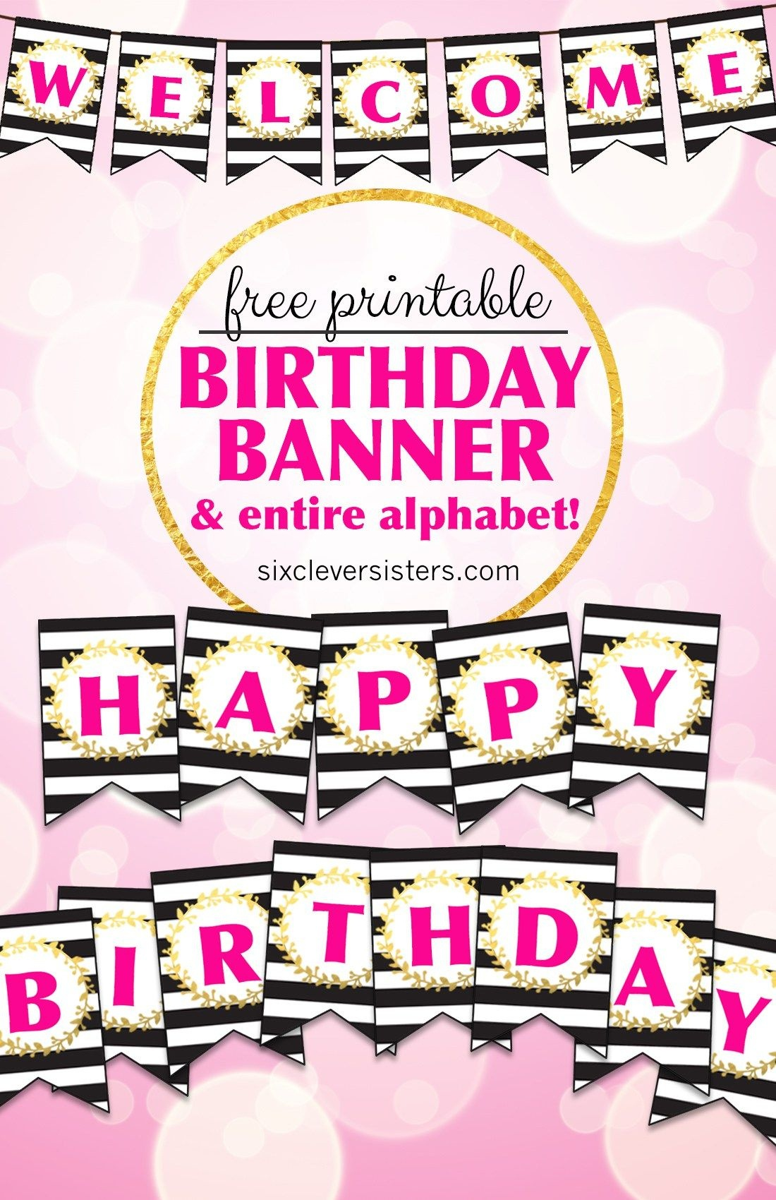 Free Printable Happy Birthday Banner And Alphabet | Printables - Diy Birthday Banner Free Printable