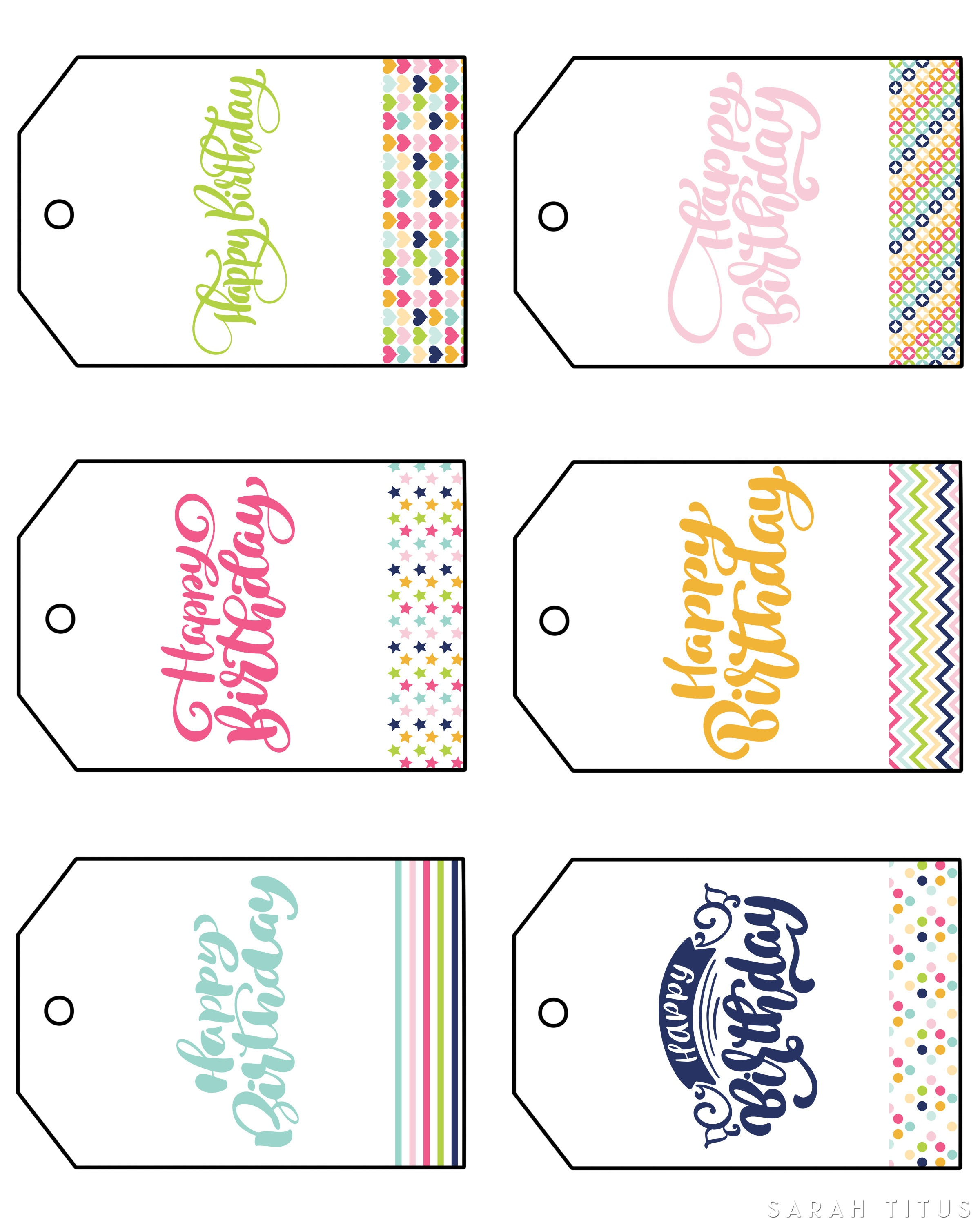 Free Printable Happy Birthday Gift Tags - Sarah Titus - Free Printable Toe Tags