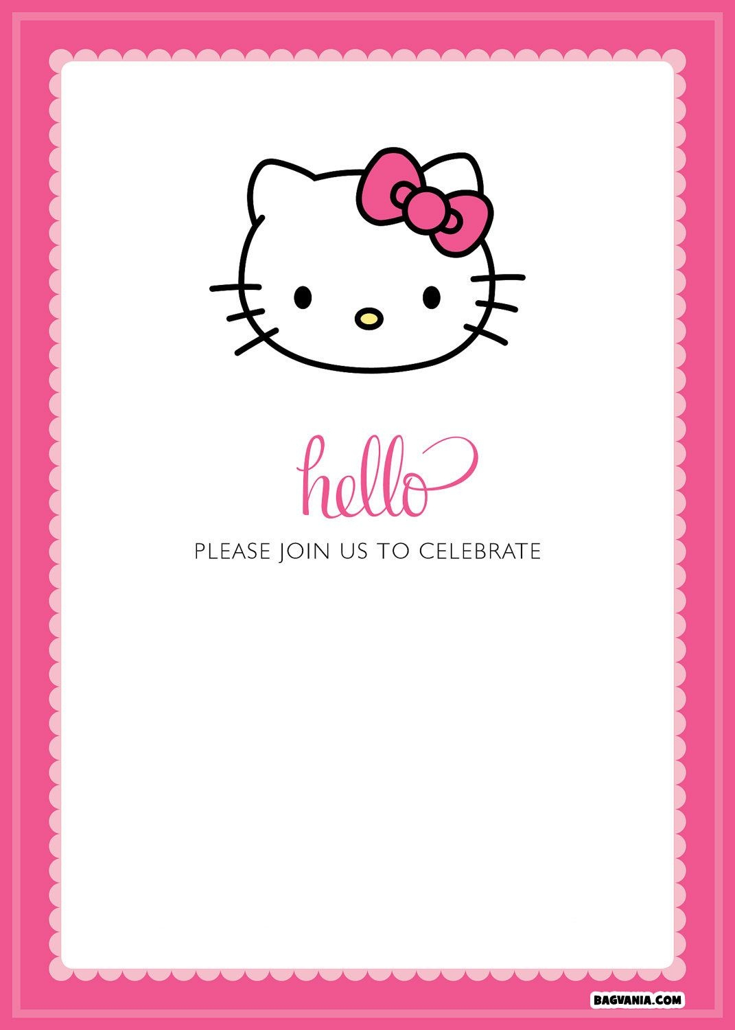 Free Printable Hello Kitty Birthday Invitations – Bagvania Free - Free Printable Hello Kitty Baby Shower Invitations