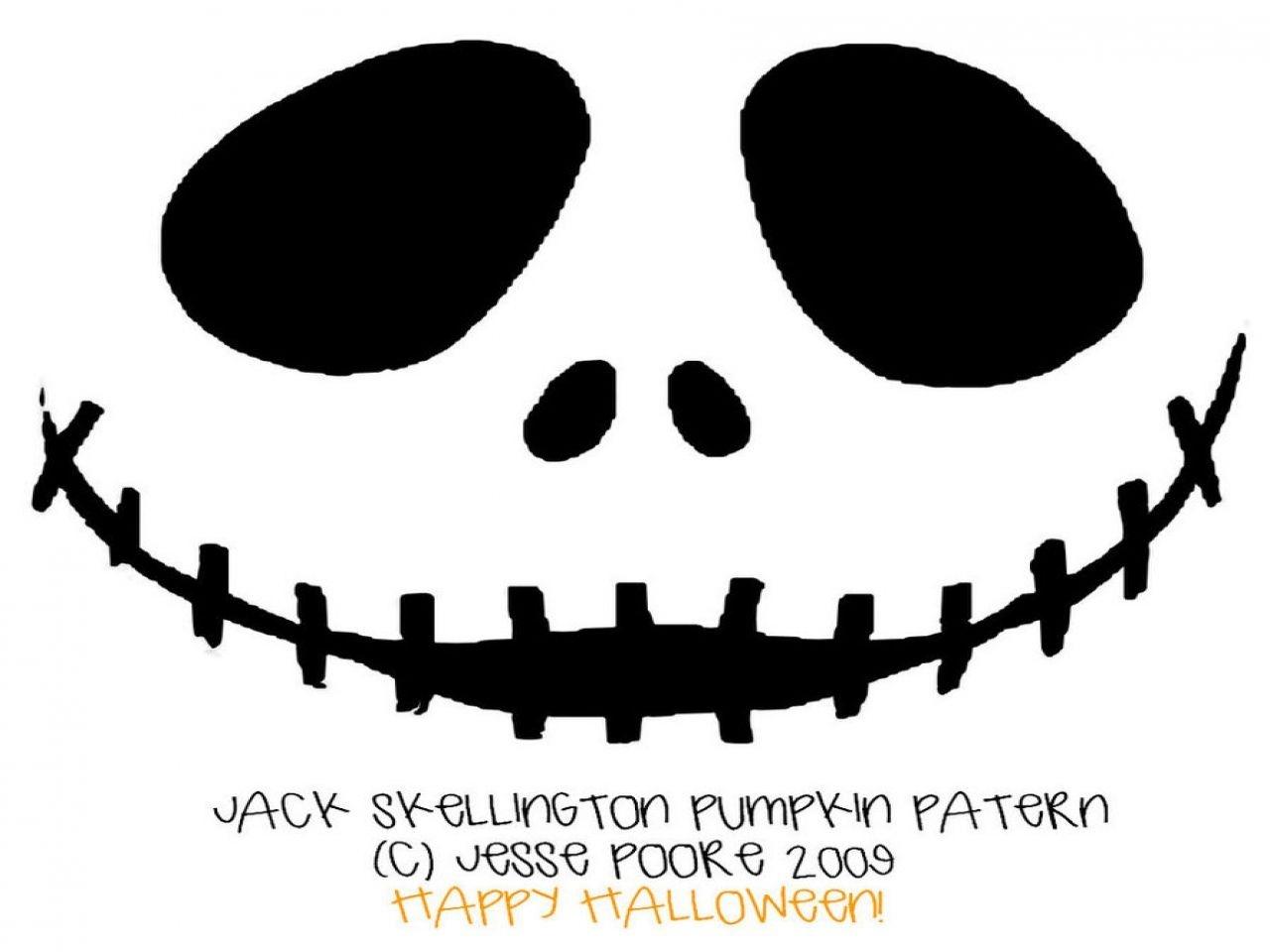 Free Printable Jack Skellington Pumpkin Carving Stencil Templates - Jack Skellington And Sally Pumpkin Stencils Free Printable