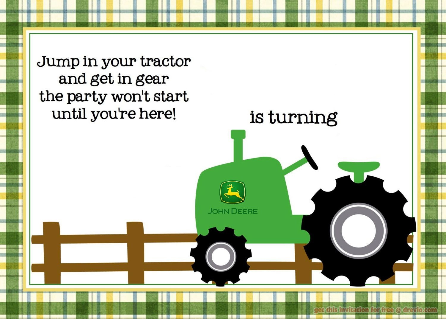Free Printable John Deere Tractor Birthday | Paper Crafts - Free Printable John Deere Baby Shower Invitations