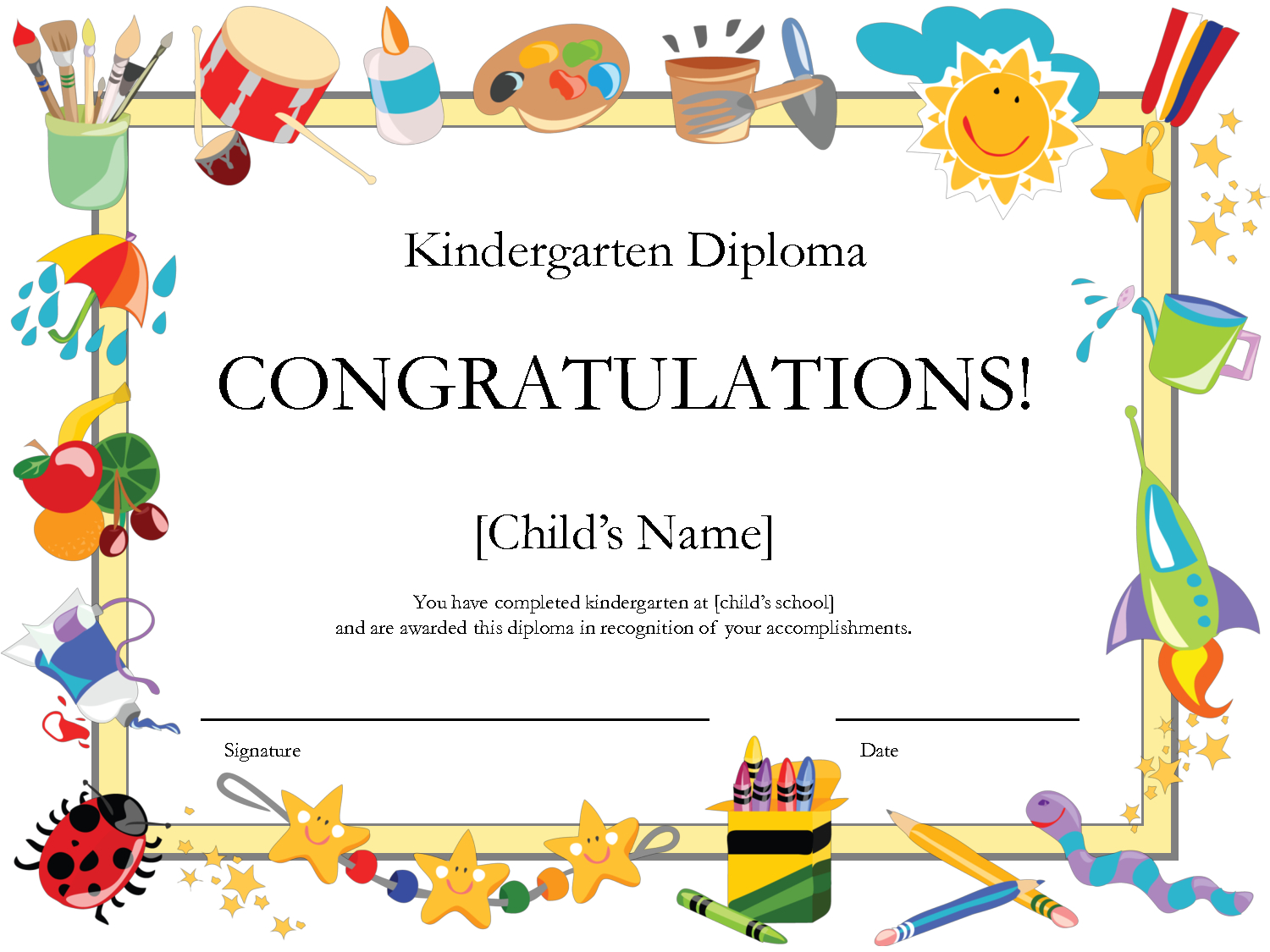 Free Printable Kindergarten Graduation Certificate Template | Umi - Free Printable Children's Certificates Templates