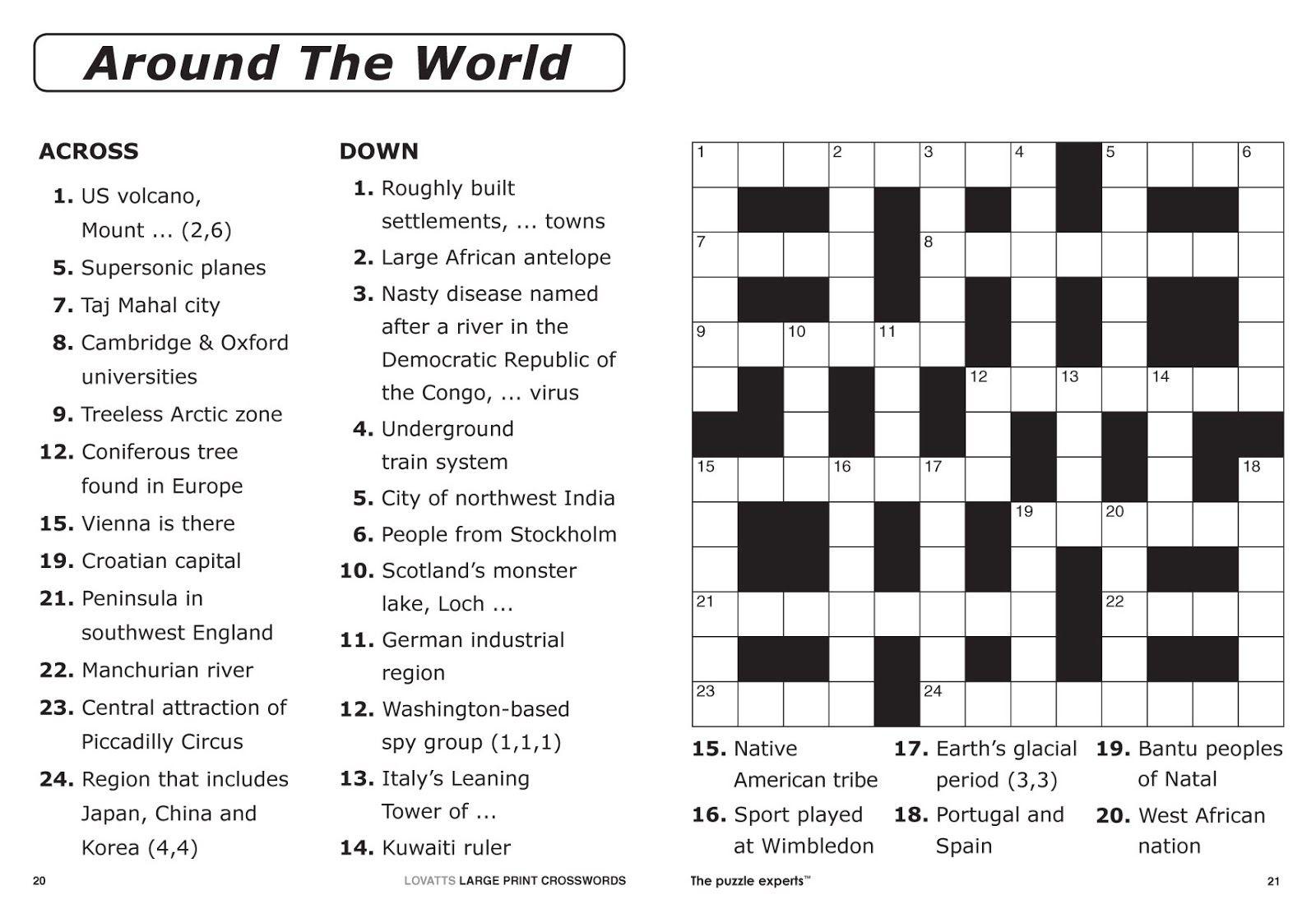 Free Printable Large Print Crossword Puzzles | M3U8 - Free Printable Crossword Puzzles For Adults