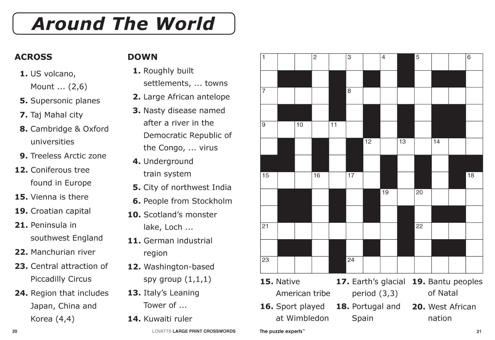 Free Printable Large Print Crossword Puzzles | M3U8 - Free Printable Puzzles For Adults