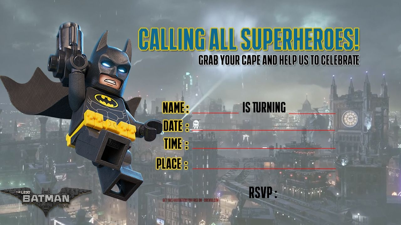 Free Printable Lego Batman The Movie Invitation | Free Printable - Lego Batman Party Invitations Free Printable