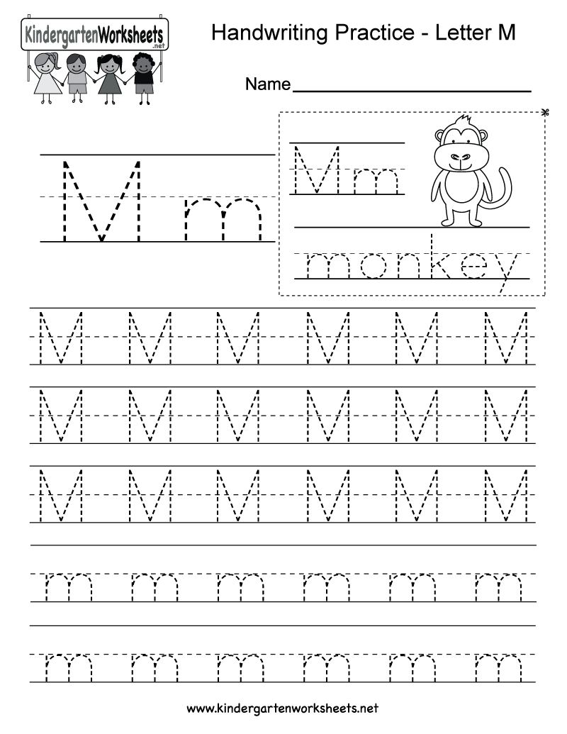 Free Printable Letter M Writing Practice Worksheet For Kindergarten - Free Printable Letter Writing Worksheets