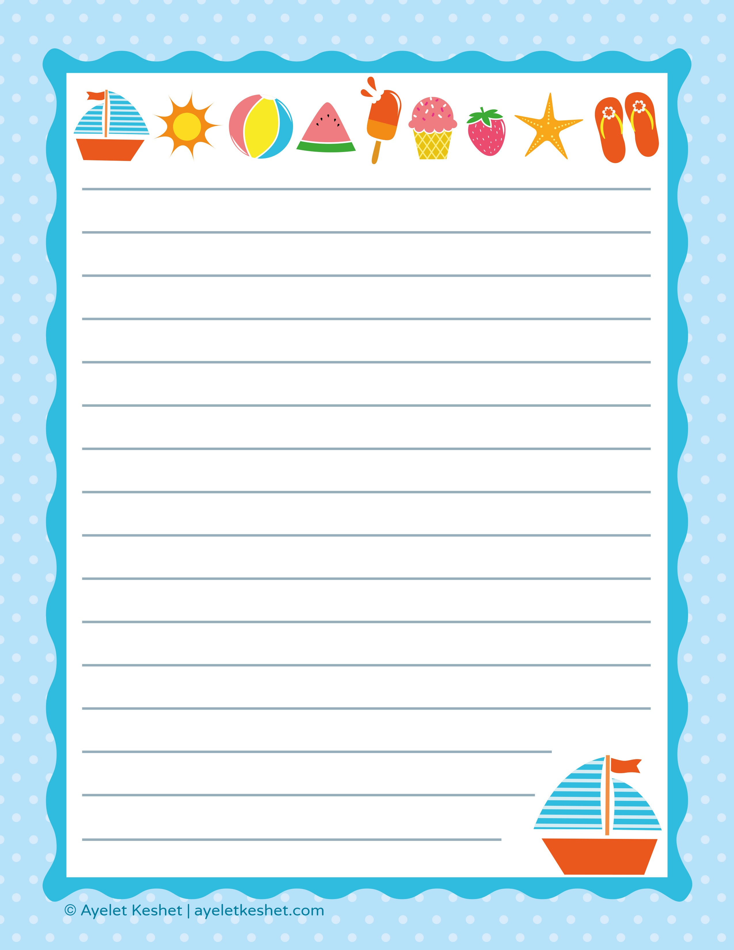 Free Printable Letter Paper - Ayelet Keshet - Free Printable Writing Paper For Adults