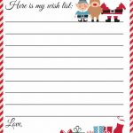 Free Printable Letter To Santa Template ~ Cute Christmas Wish List   Free Printable Christmas Letters From Santa