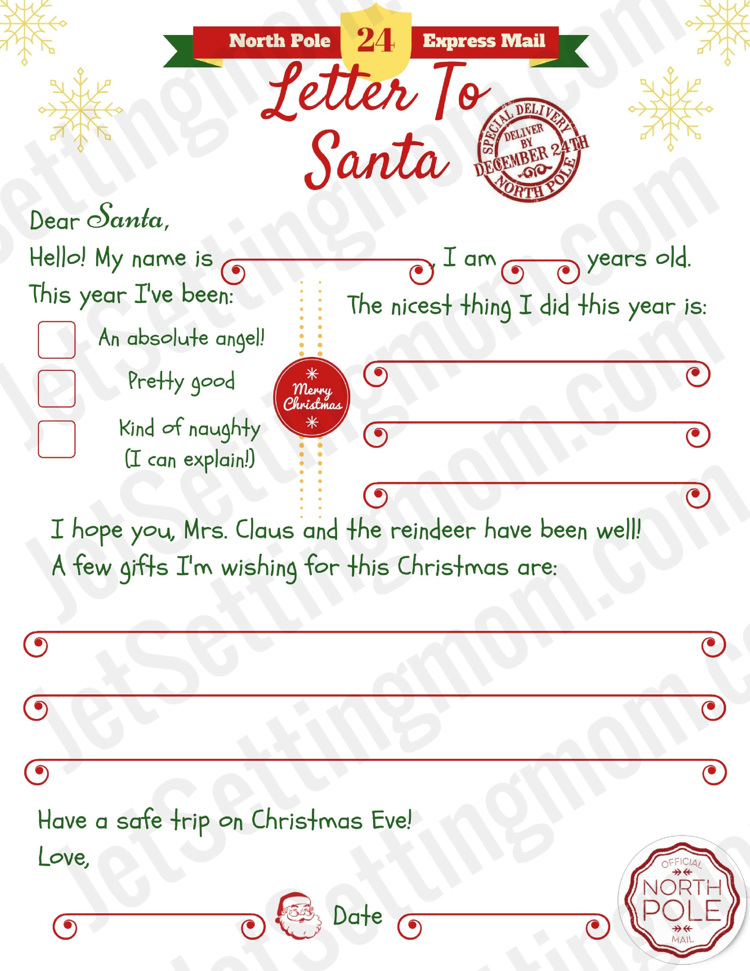 Free Printable Letter To Santa Template - Writing To Santa Made Easy! - Free Printable Christmas Letters From Santa