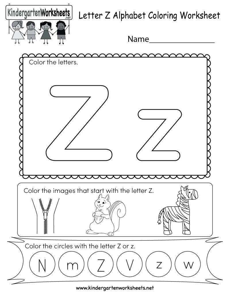 Free Printable Letter Z Coloring Worksheet For Kindergarten - Letter Z Worksheets Free Printable