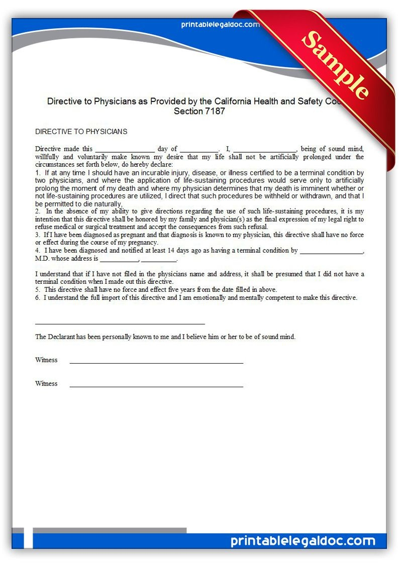 Free Printable Life Sustaining Statute, California | Sample - Free Printable Legal Forms California