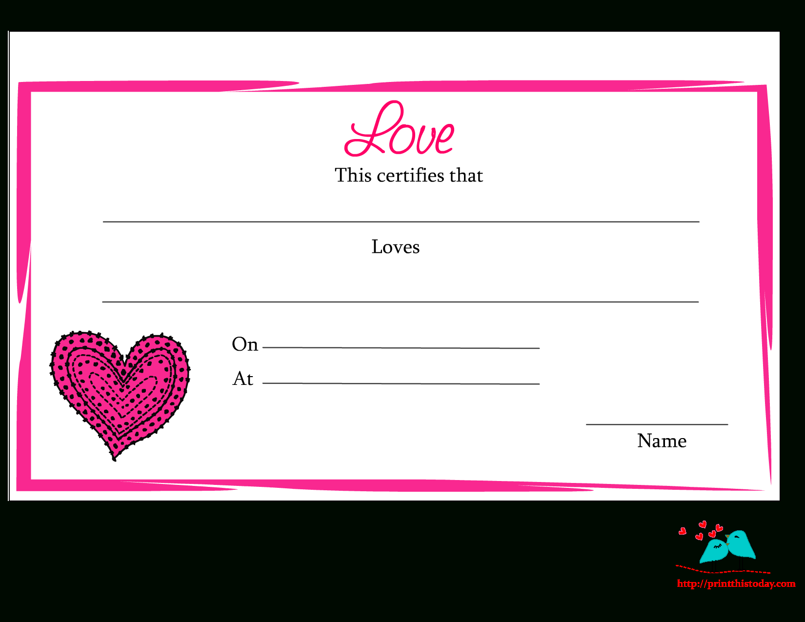 Free Printable Love Certificate | For The Holidays | Free, Love Is - Free Printable Love Certificates For Him