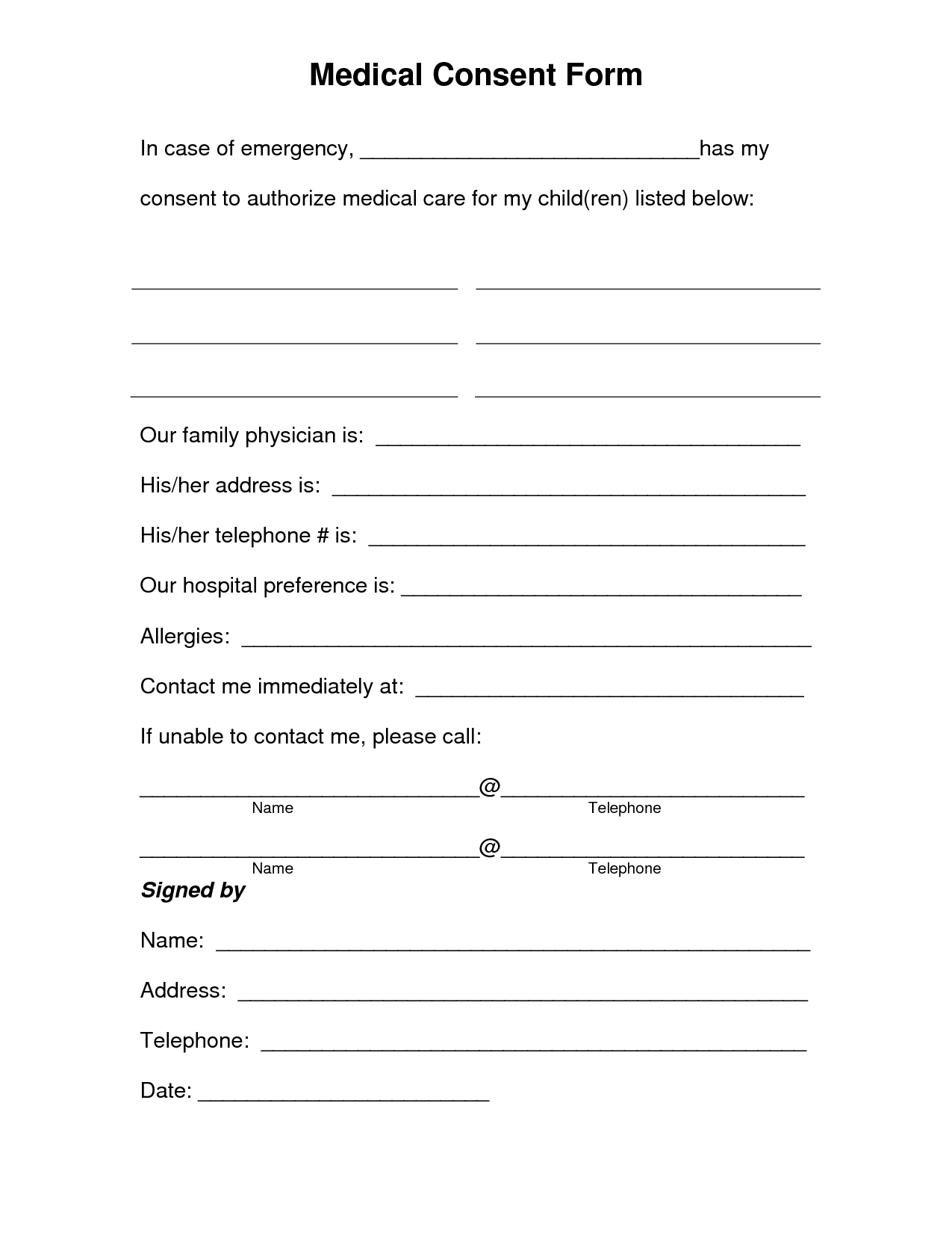 Free Printable Medical Consent Form | Free Medical Consent Form - Free Printable Daycare Forms For Parents