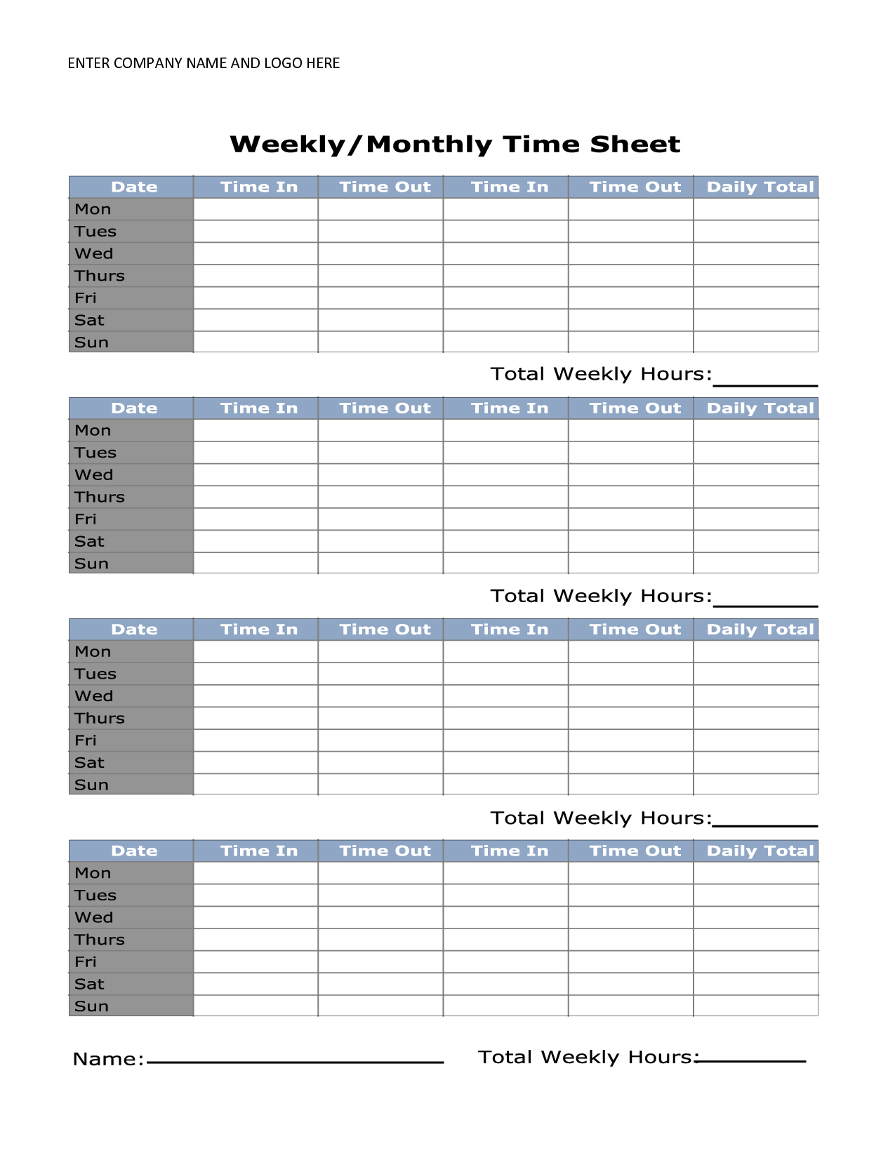 Free Printable Monthly Time Sheets | Time Sheet | Timesheet Template - Monthly Timesheet Template Free Printable
