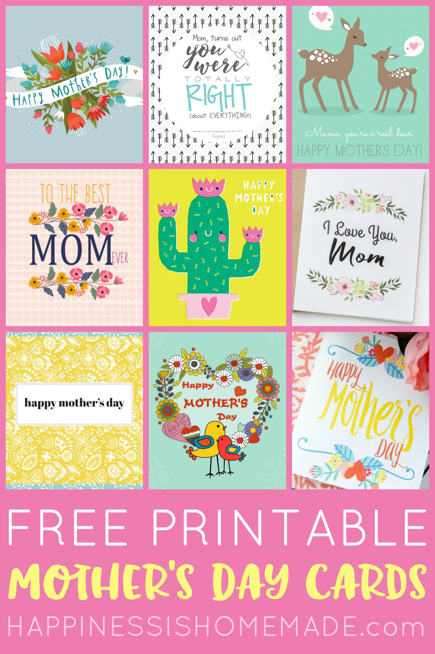 Free Printable Mother's Day Cards - Happiness Is Homemade - Free Printable Mothers Day Cards