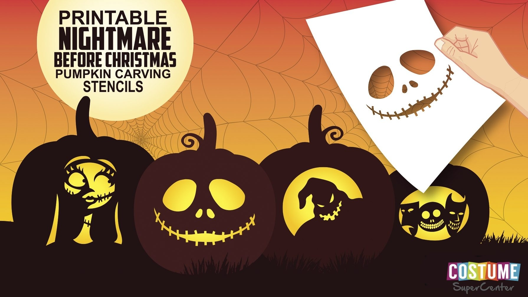 Free Printable Nightmare Before Christmas Pumpkin Carving Stencils - Free Printable Nightmare Before Christmas Pumpkin Stencils